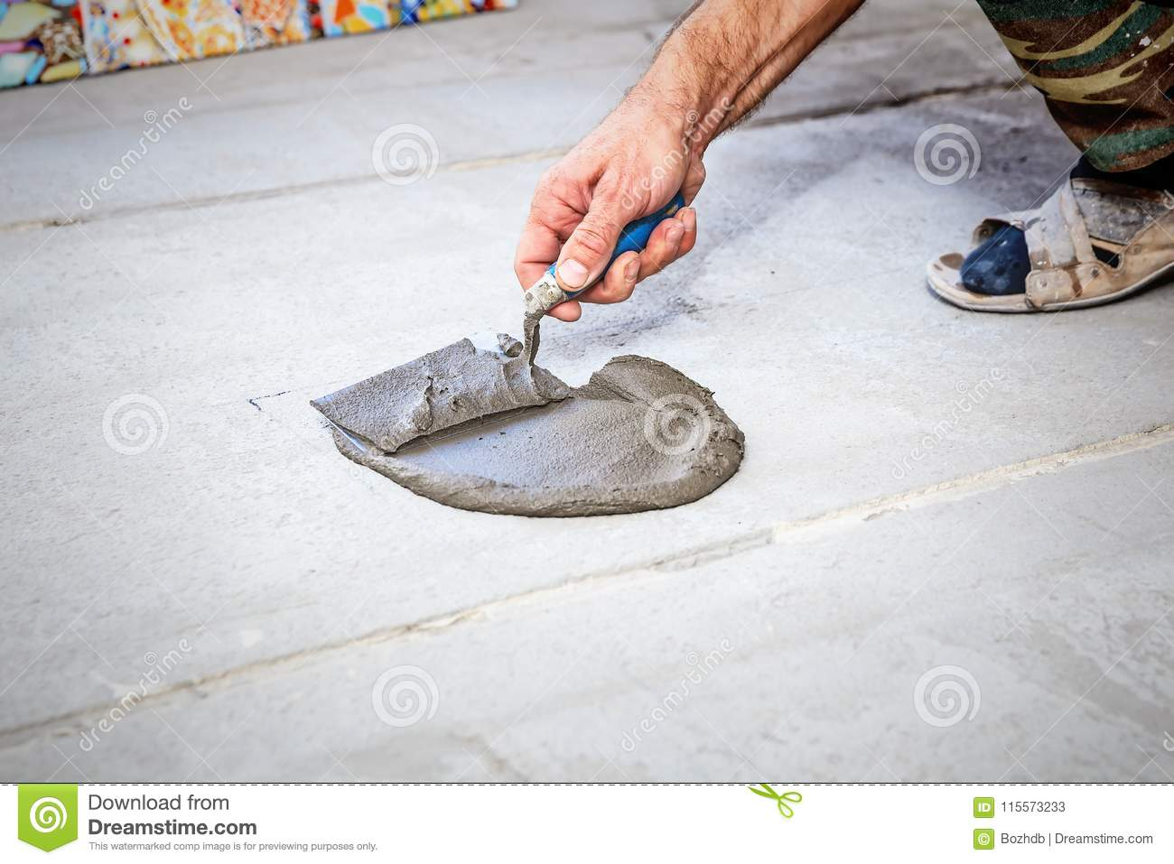 Laying Floor Ceramic Tile Stock Image Image Of Ceramic 115573233