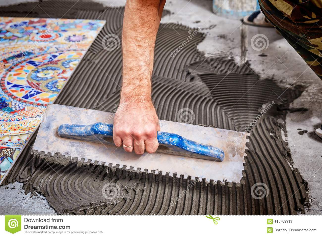 Laying Floor Ceramic Tile Stock Image Image Of Hand 115709913