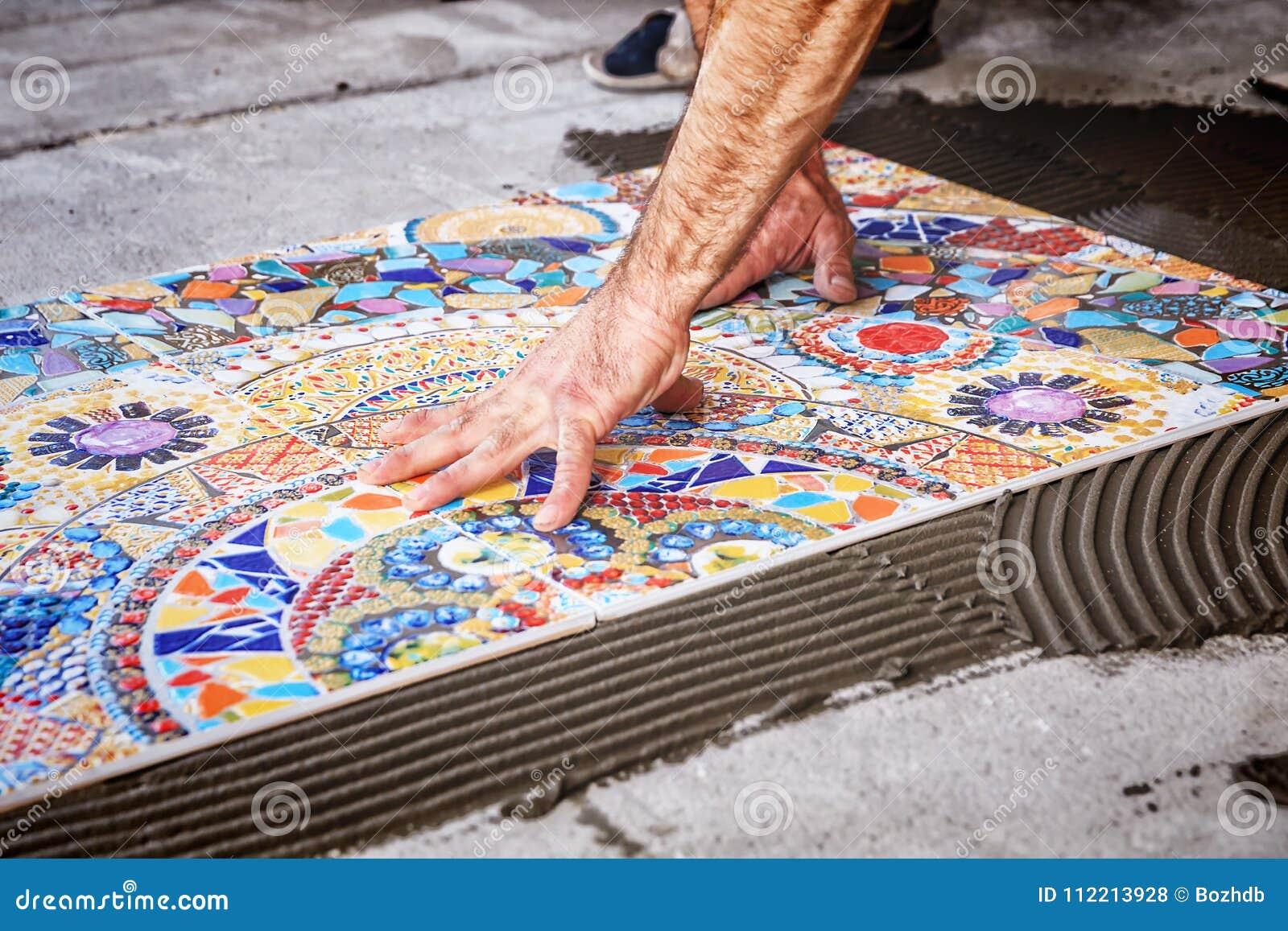 Laying Floor Ceramic Tile Stock Photo Image Of Mortar 112213928