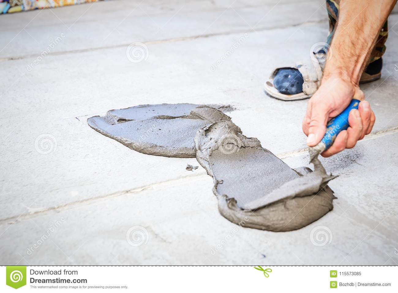 Laying Floor Ceramic Tile Stock Image Image Of Adhesive 115573085