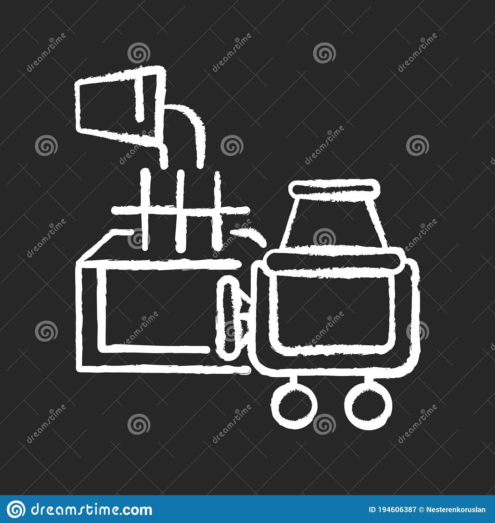 Laying Foundation Chalk White Icon On Black Background Stock Vector Illustration Of Building House 194606387