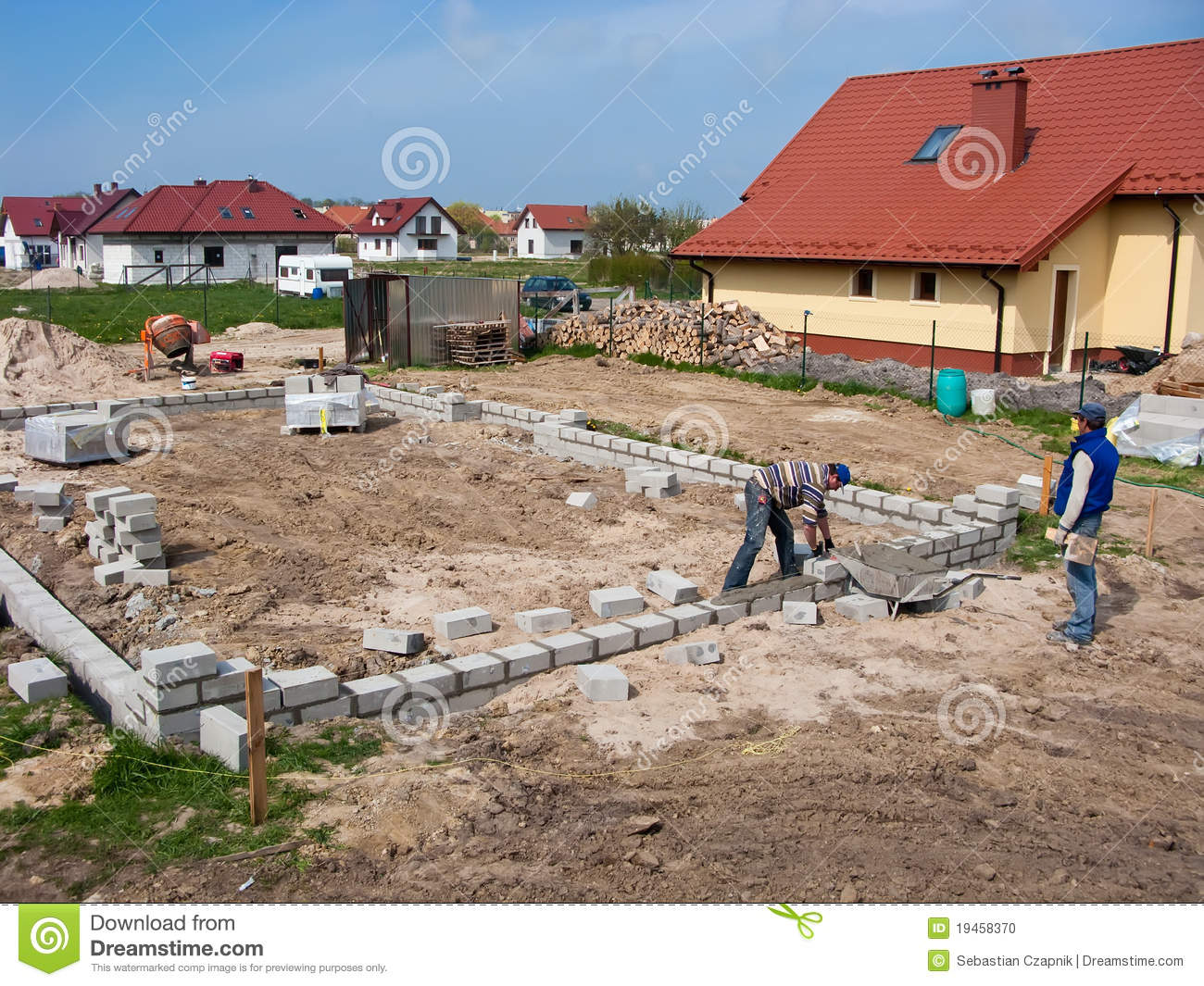 Laying house foundations stock photo image 19458370 for Foundations for homes