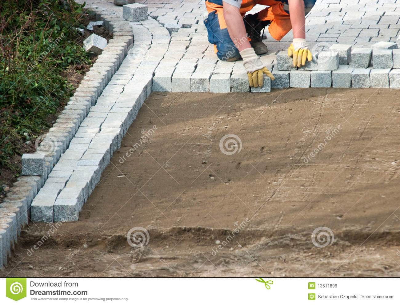 laying paving bricks on soil stock photo image of pavement patio 13611896. Black Bedroom Furniture Sets. Home Design Ideas
