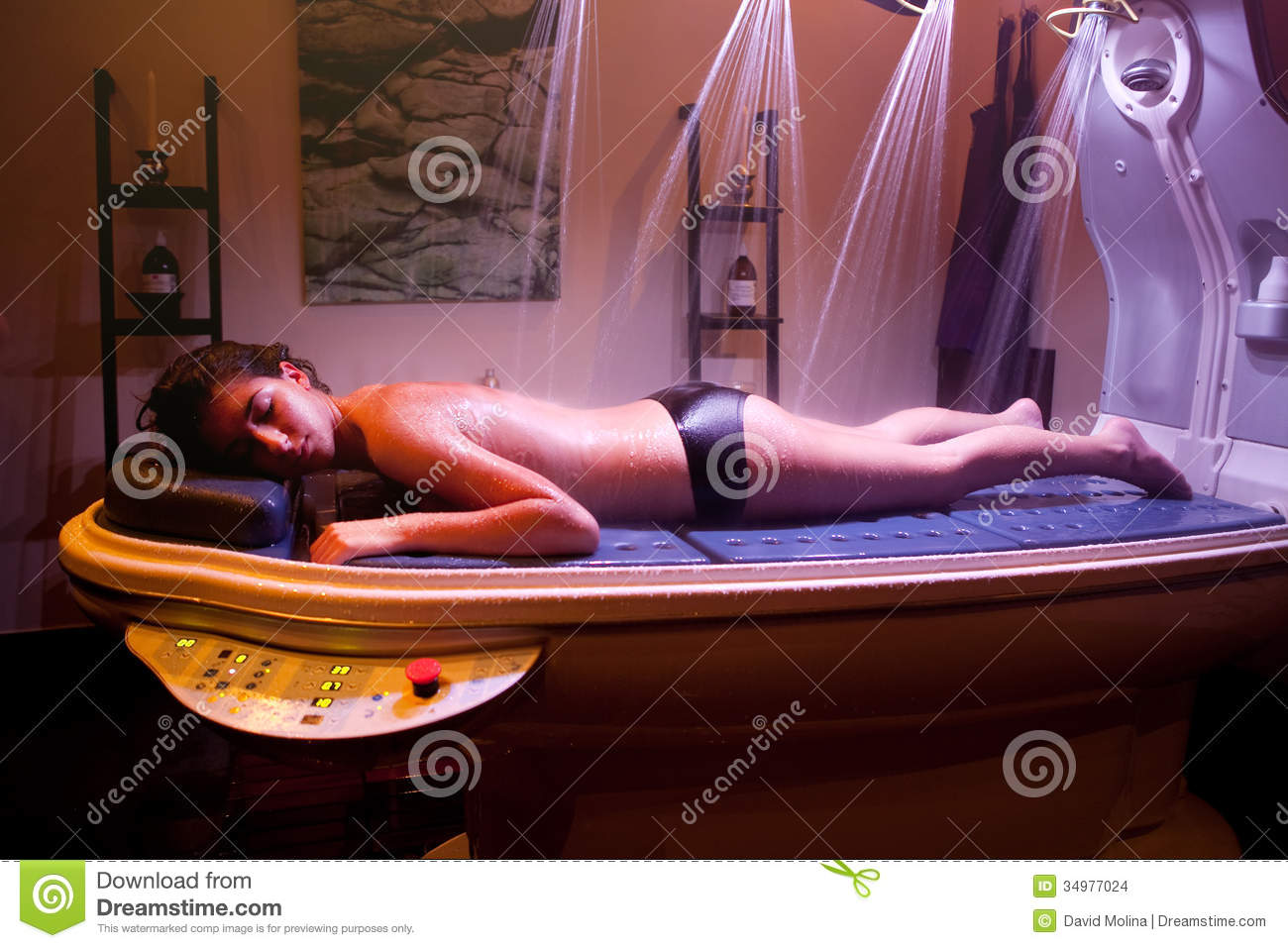 Laying Relaxed Woman During Spa Treatment Color Therapy