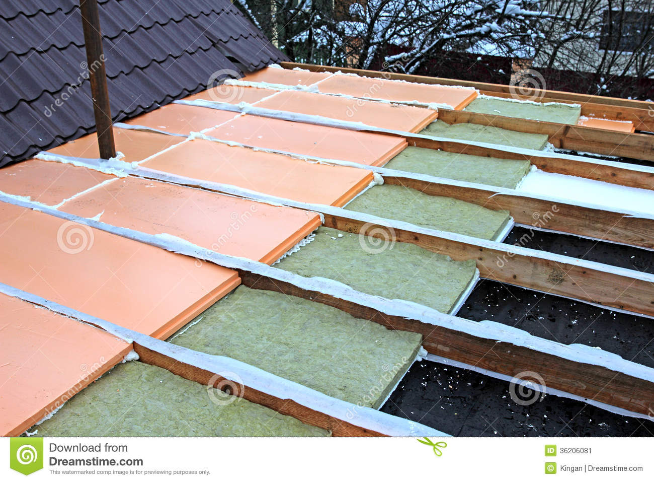 Awesome Laying Slabs Of Heat Insulation Material Between Beams