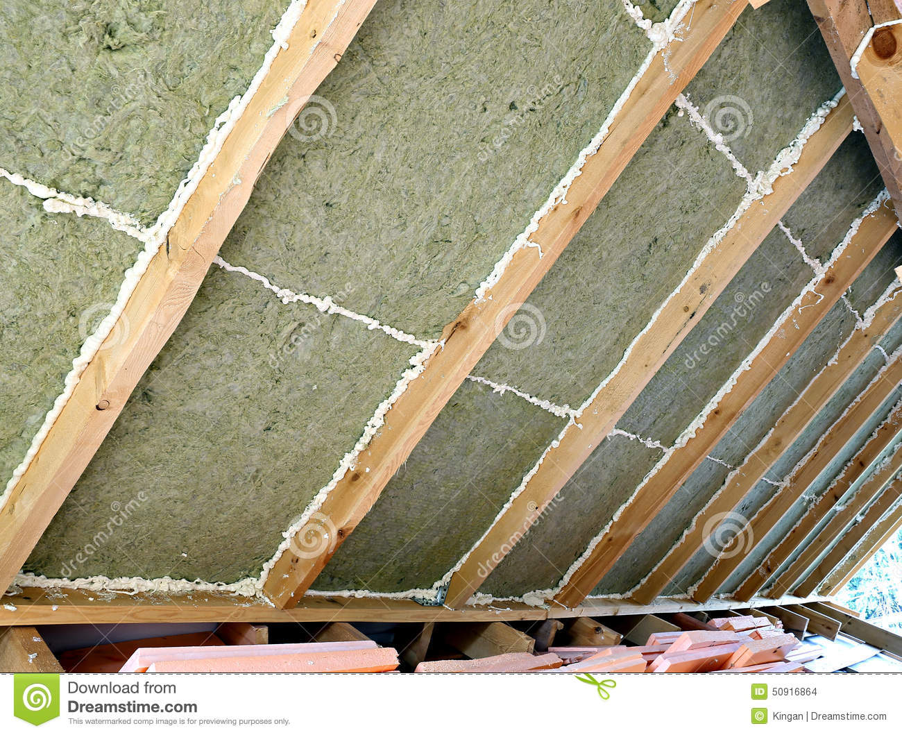 Laying Slabs Of Heat Insulation Material Stock Photo