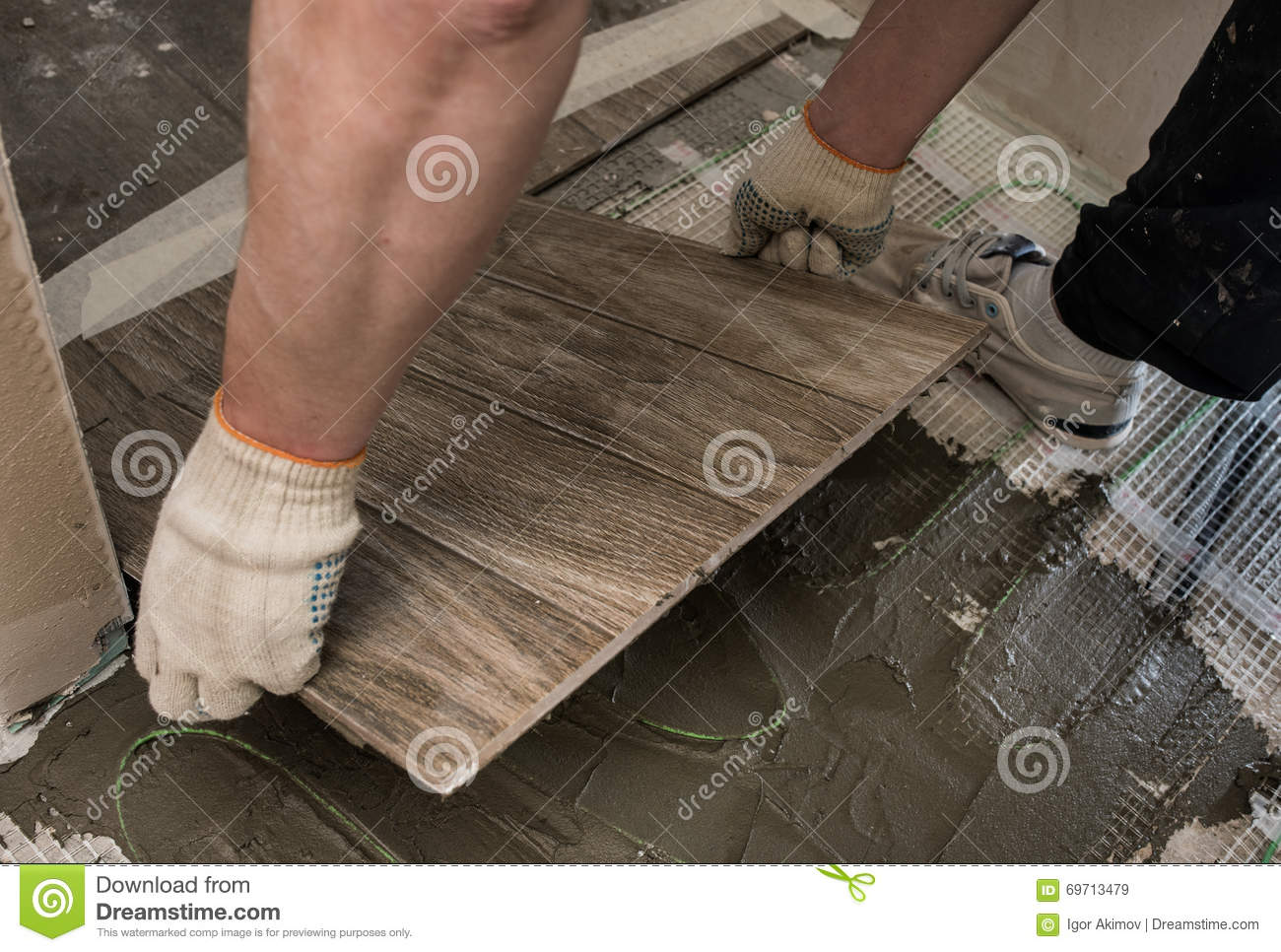 Laying Tile Stylized Tree On The Insulated Floor Stock Image