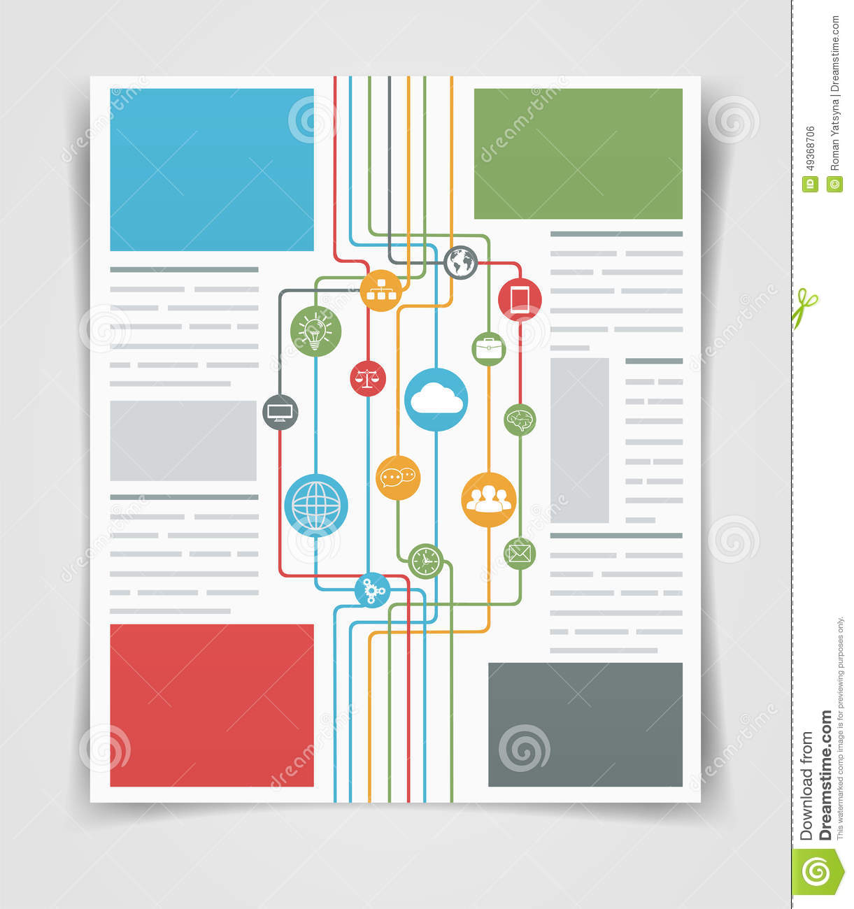 Layout business flyer or brochure network connections web for Information brochure template