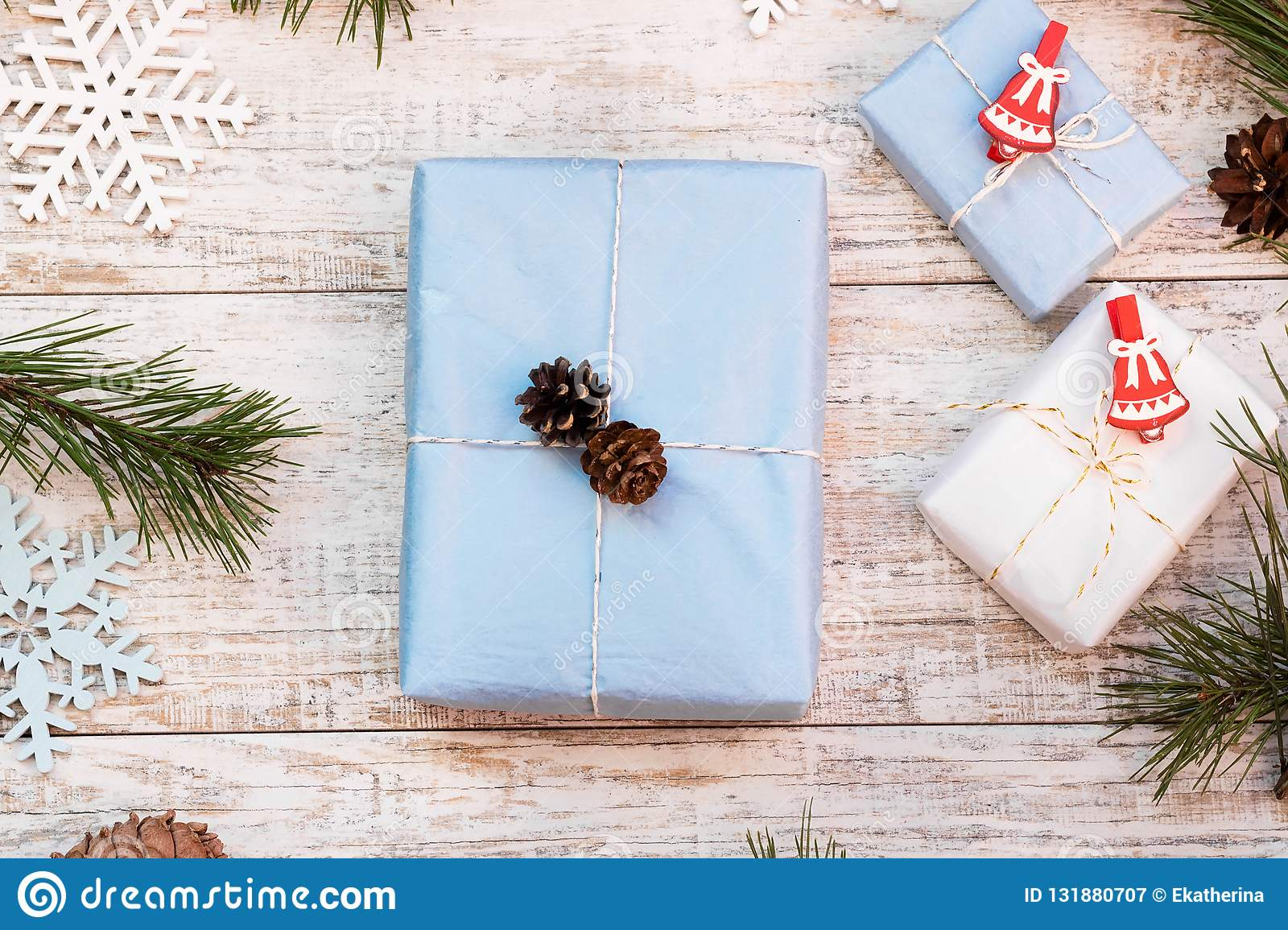 Christmas Top View.Layout Of Christmas Gifts Top View Stock Image Image Of