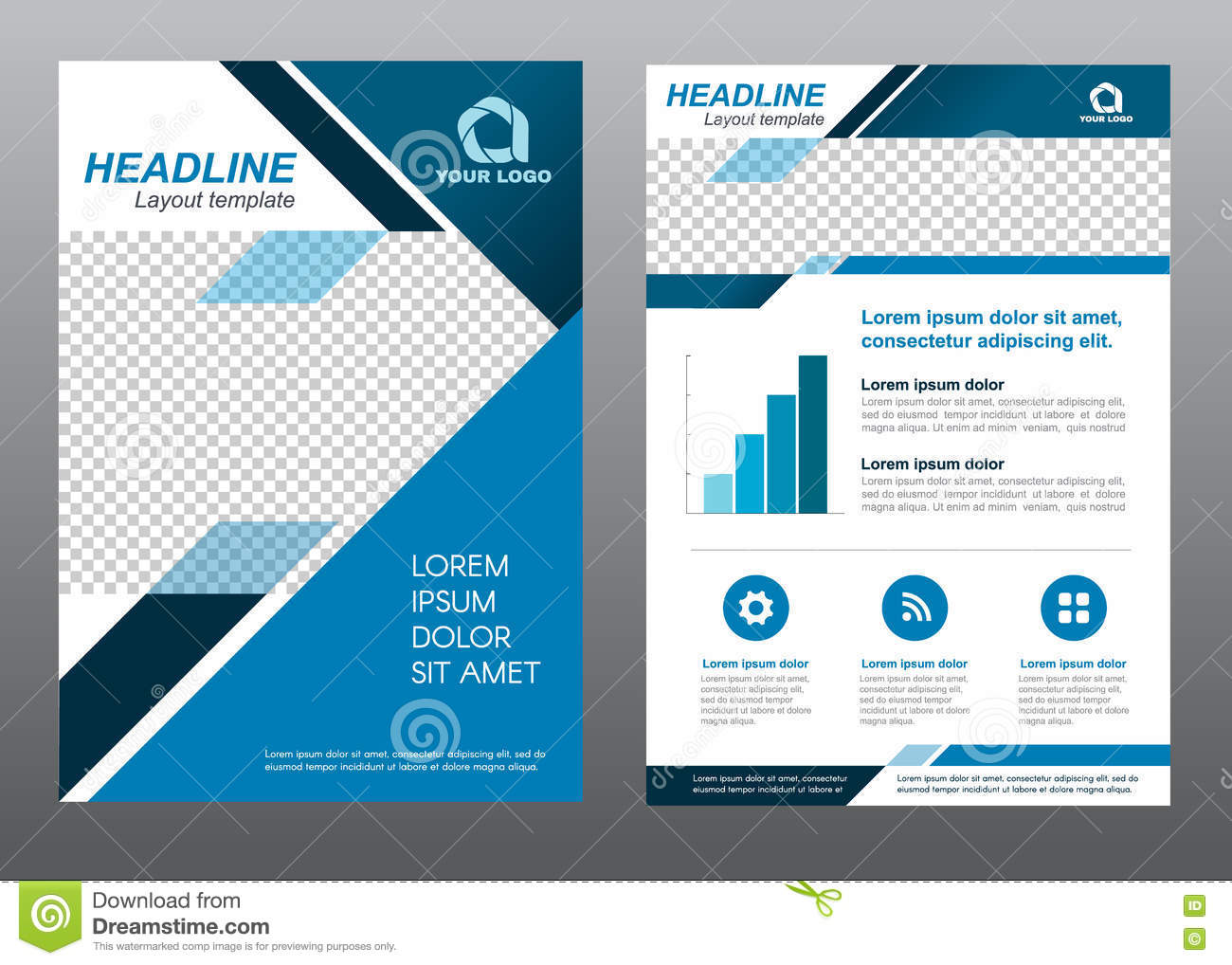 Layout Flyer Template Size A4 Cover Page Blue Tone Vector
