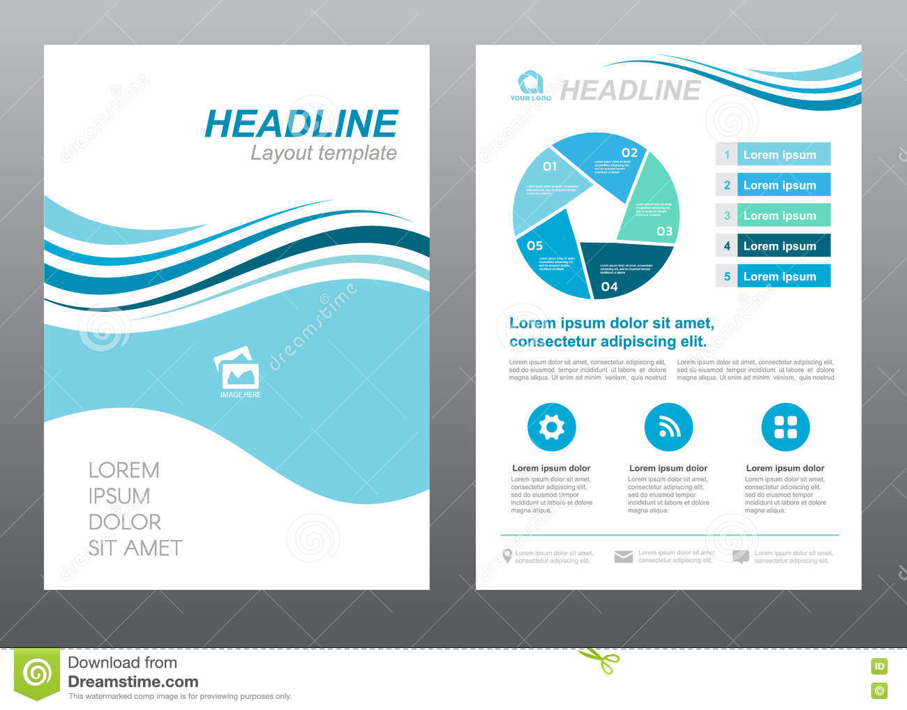 Layout Flyer Template Size A4 Cover Page Blue Wave Style Vector ...
