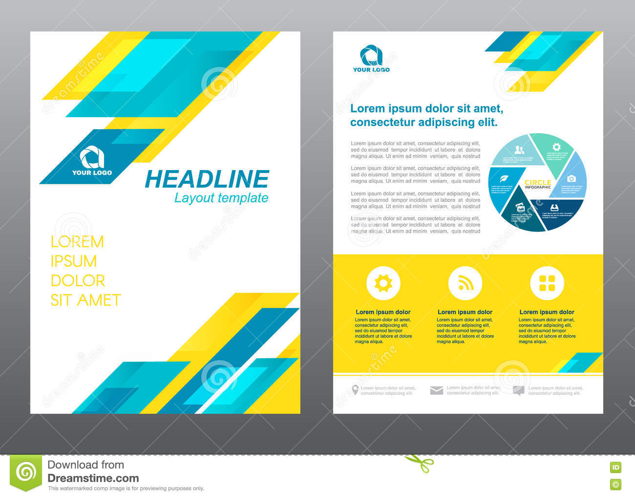 cover page design stock photography image  layout flyer template size a4 cover page blue and yellow stripe vector design stock images