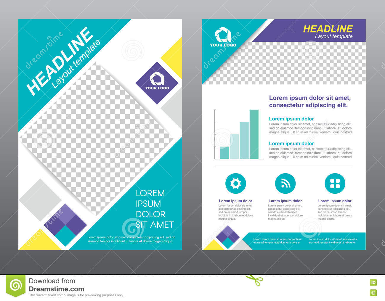 layout flyer template size a cover page blue tone vector design layout flyer template size a4 cover page diamond square blue purple yellow tone vector design royalty