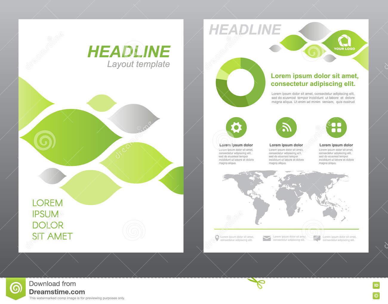 Green Flyer Template | Layout Flyer Template Size A4 Cover Page Green And Gray Leaf
