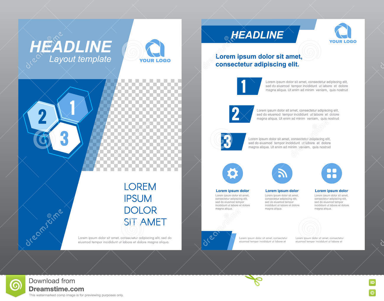 Layout Flyer Template Size A4 Cover Page Slant Blue Tone Vector ...