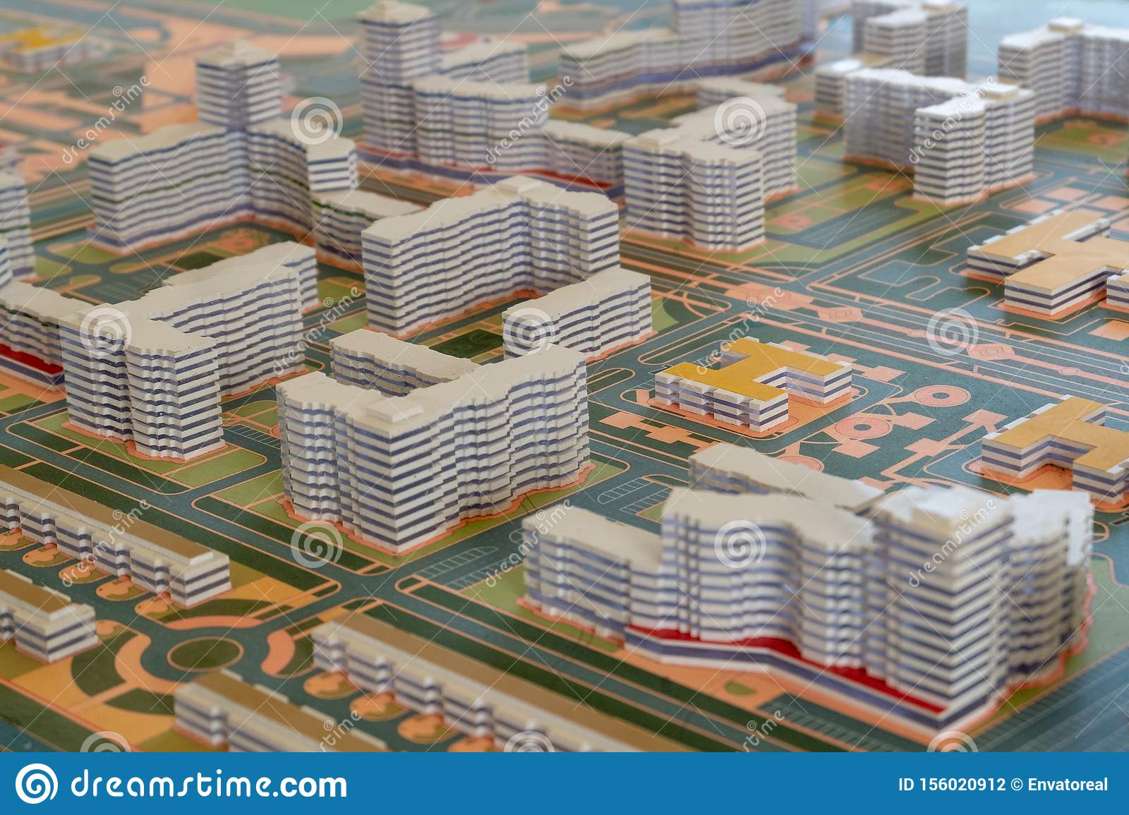 Layout Of High Rise Buildings And Streets In An Abstract City Modern Urban Background To Illustrate Mortgage Lending And Home Stock Photo Image Of Estate Architectural 156020912