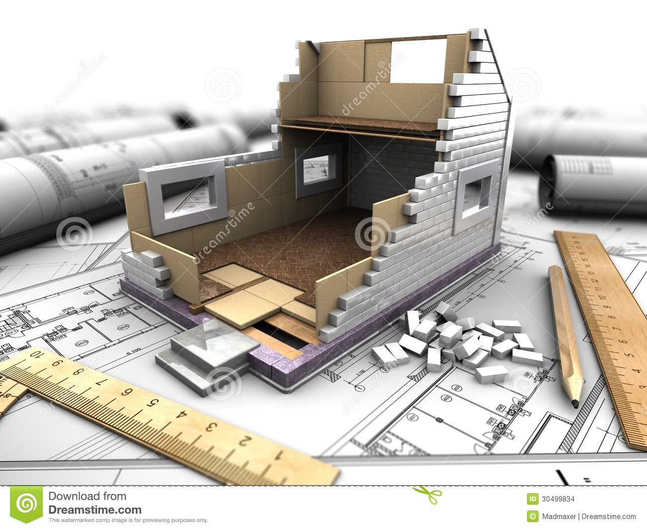 Layout Of House And Blueprints Stock Images - Image: 30499834