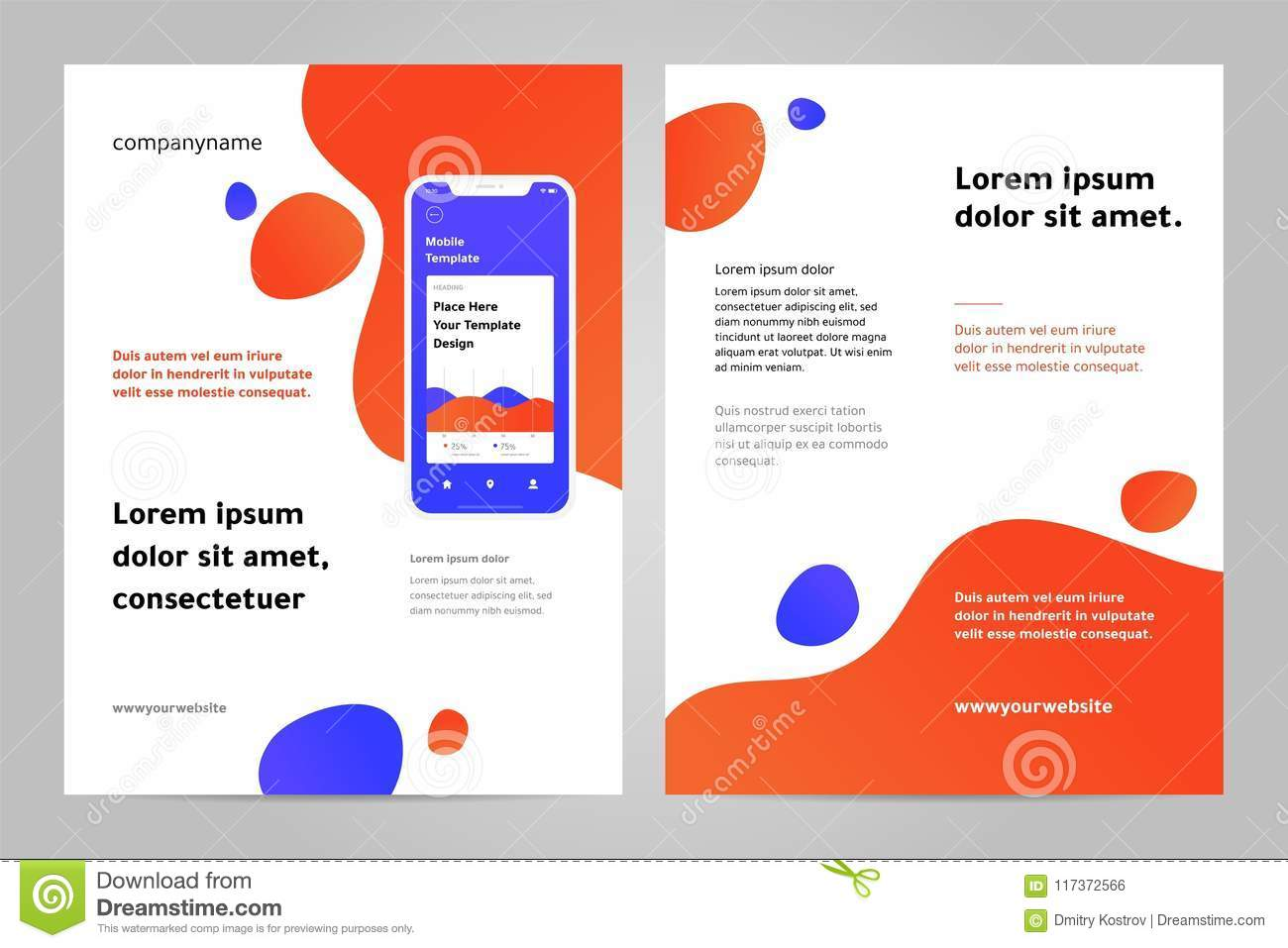 layout template design with mobile application stock vector