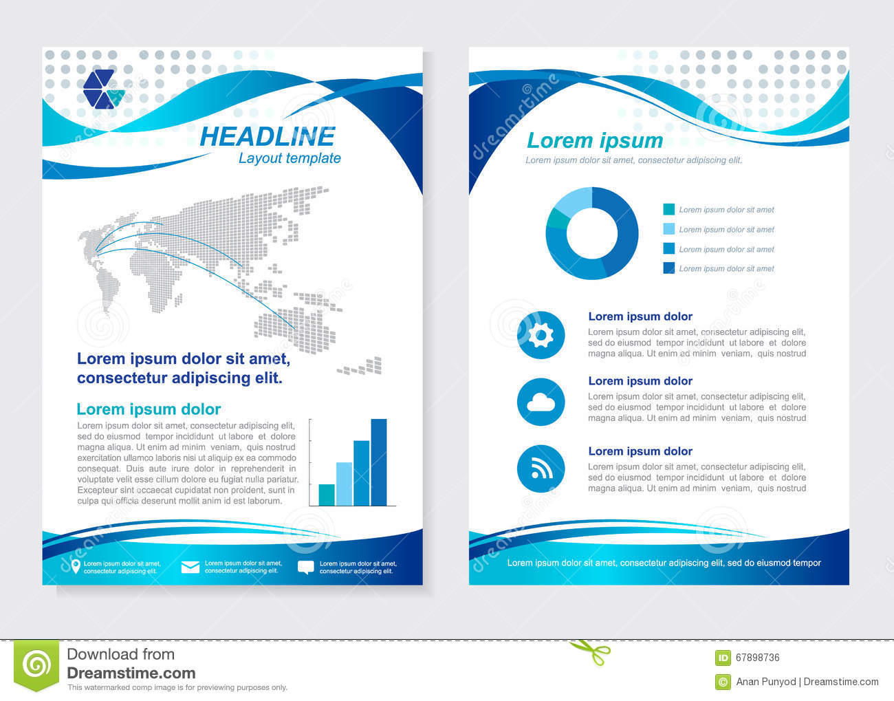 Layout Template Size A4 Front Page And Back Page Blue Wave Vector ...