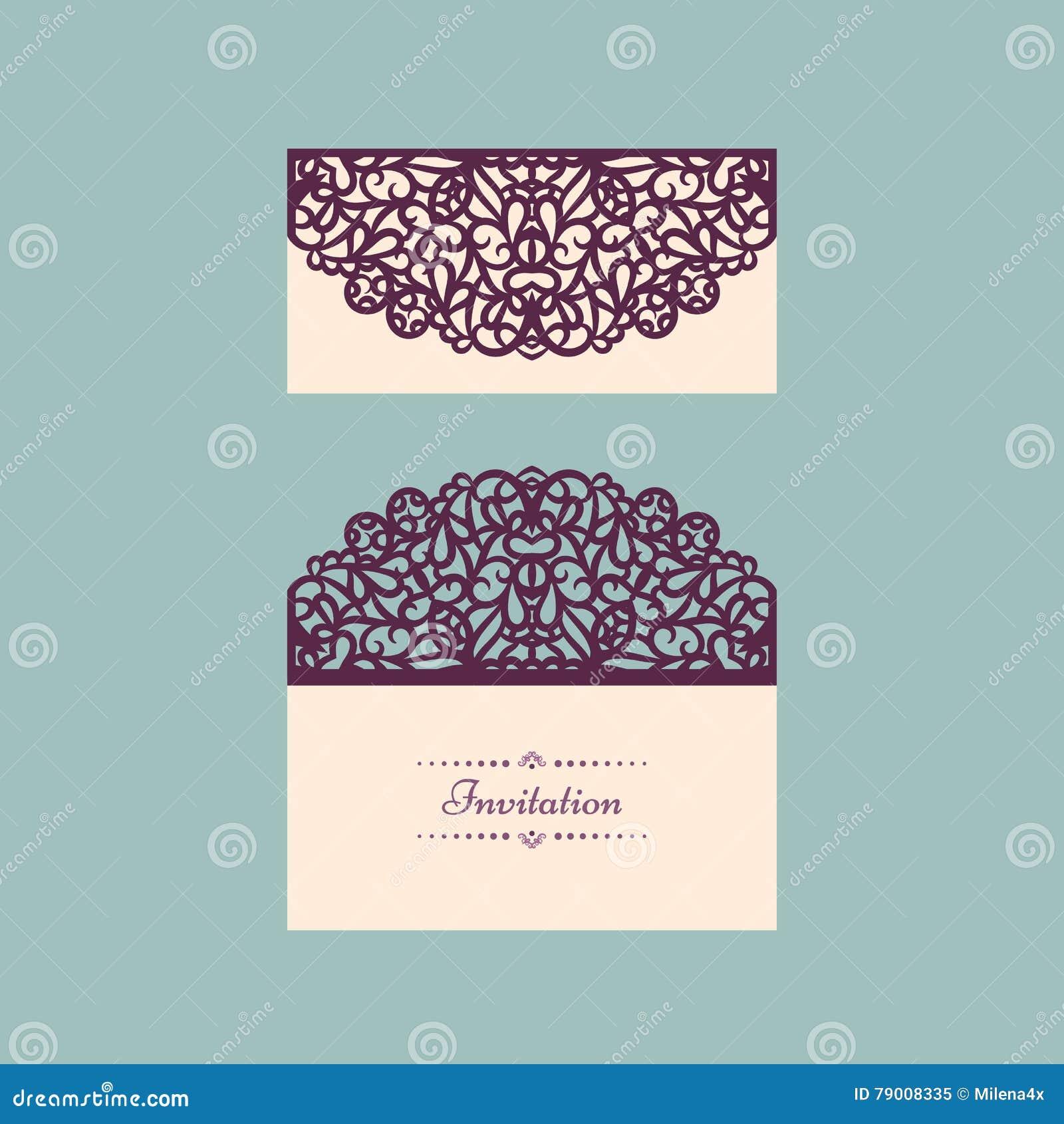 Lazercut Vector Wedding Invitation Template Envelope For Laser Cutting Lace Gate Folds