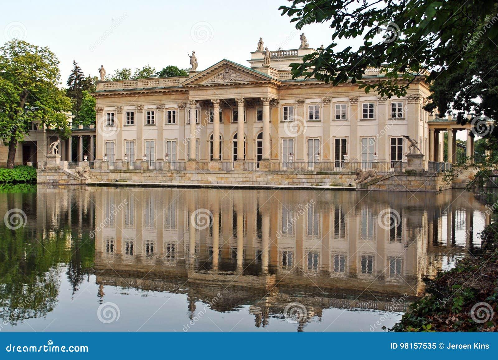 Lazienki Pałac Na Wyspie Warszawa Obraz Stock Obraz