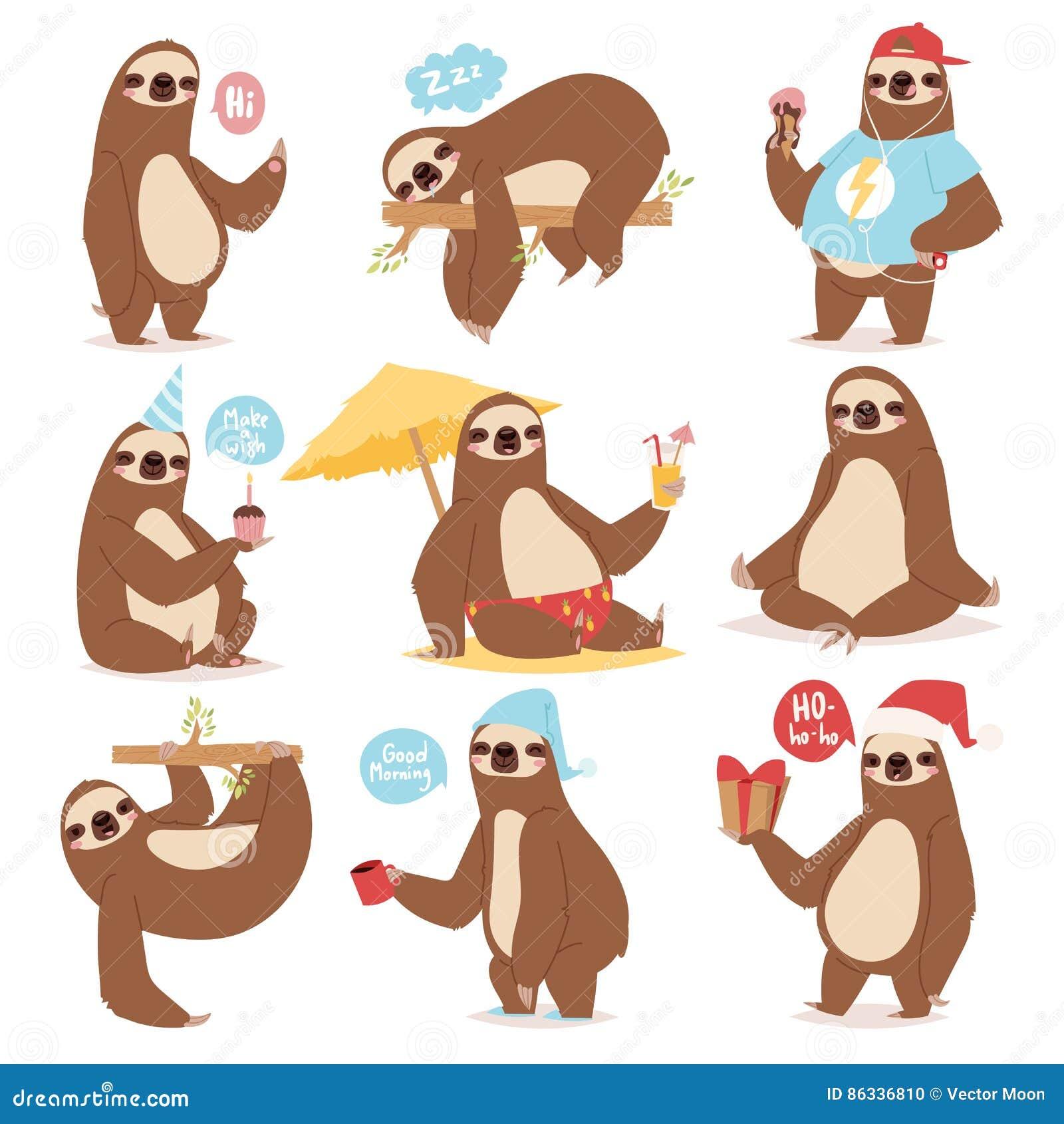 Laziness sloth animal character different pose like human cute lazy cartoon kawaii and slow down wild jungle mammal flat