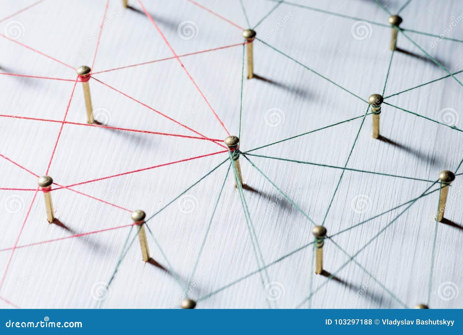 Lazo de entidades Red, establecimiento de una red, medio social, conectividad, extracto de la comunicación de Internet Web del hi