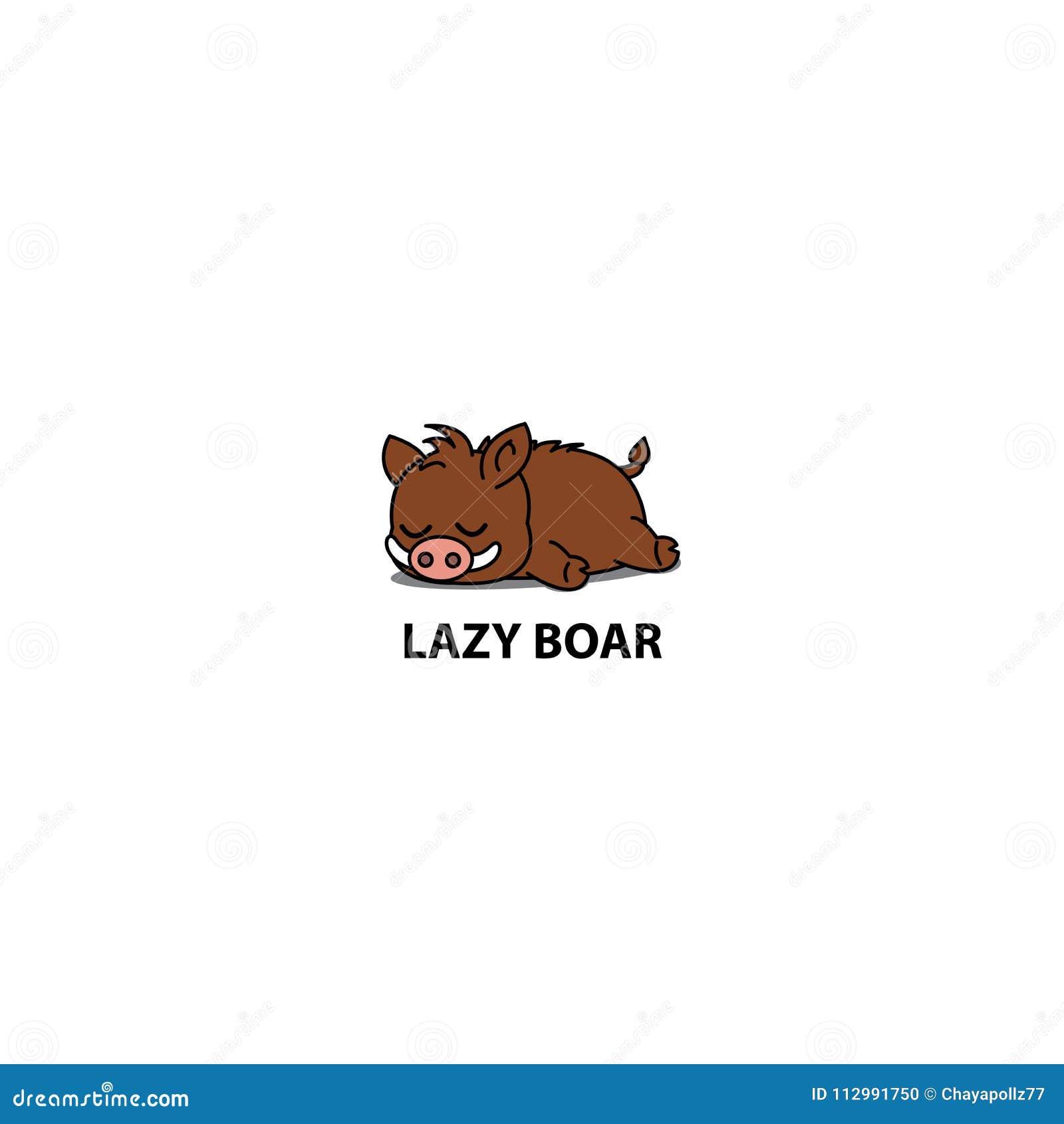 Lazy boar icon, logo design, vector