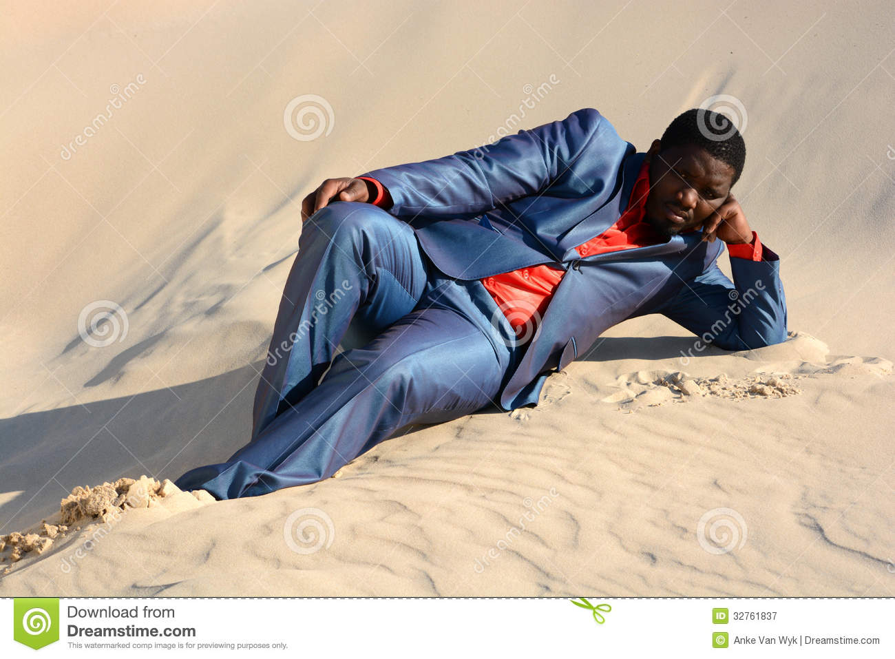 Lazy Businessman Laying In Sand Stock Image - Image: 32761837