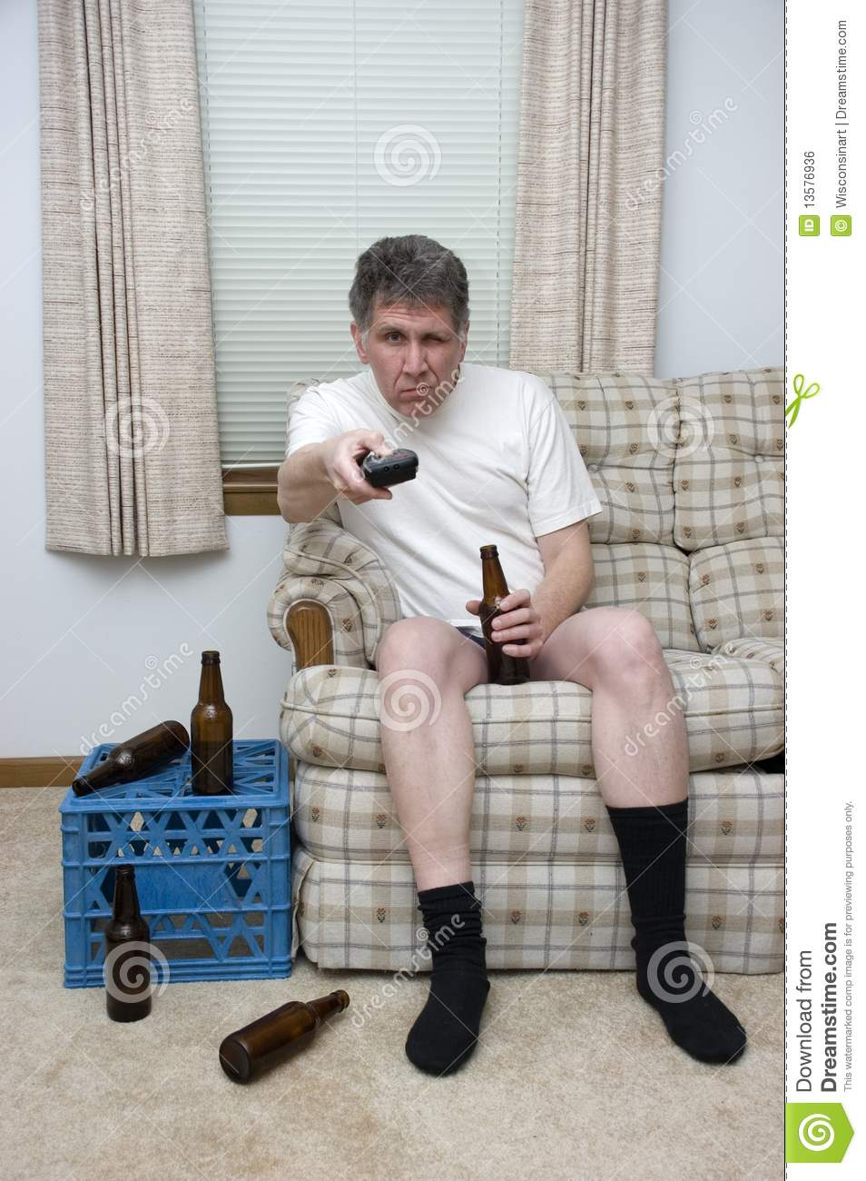 Lazy Man Couch Potato Slob Drunk With TV Remote