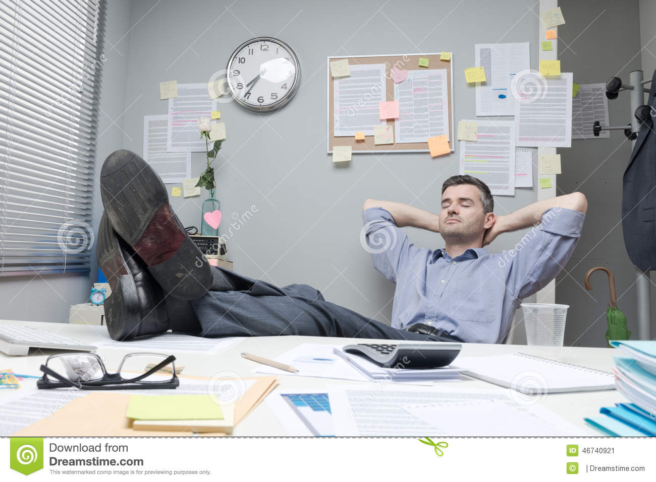 Lazy Office Worker Feet Up Stock Photo Image 46740921