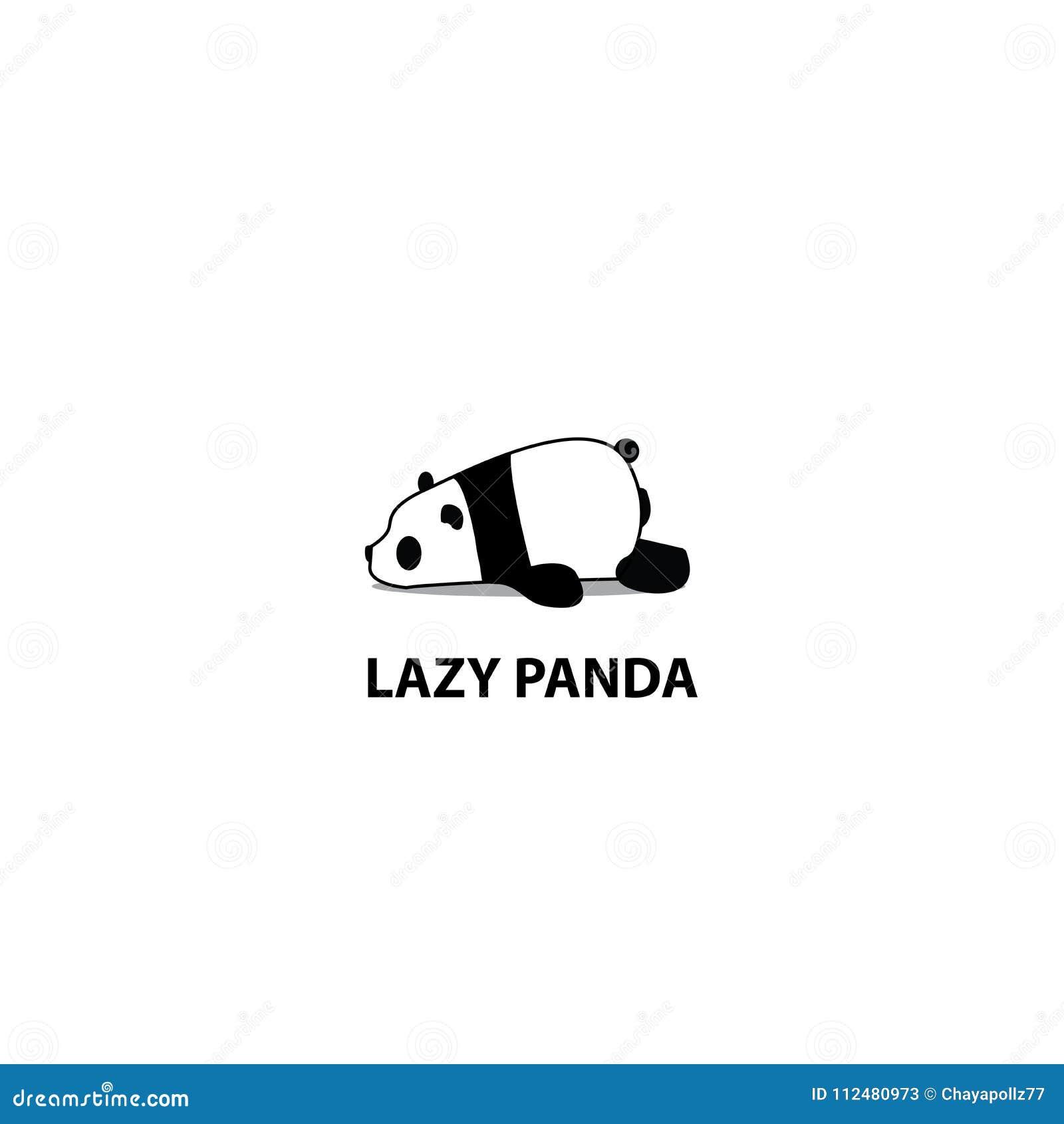 Lazy panda icon, logo design