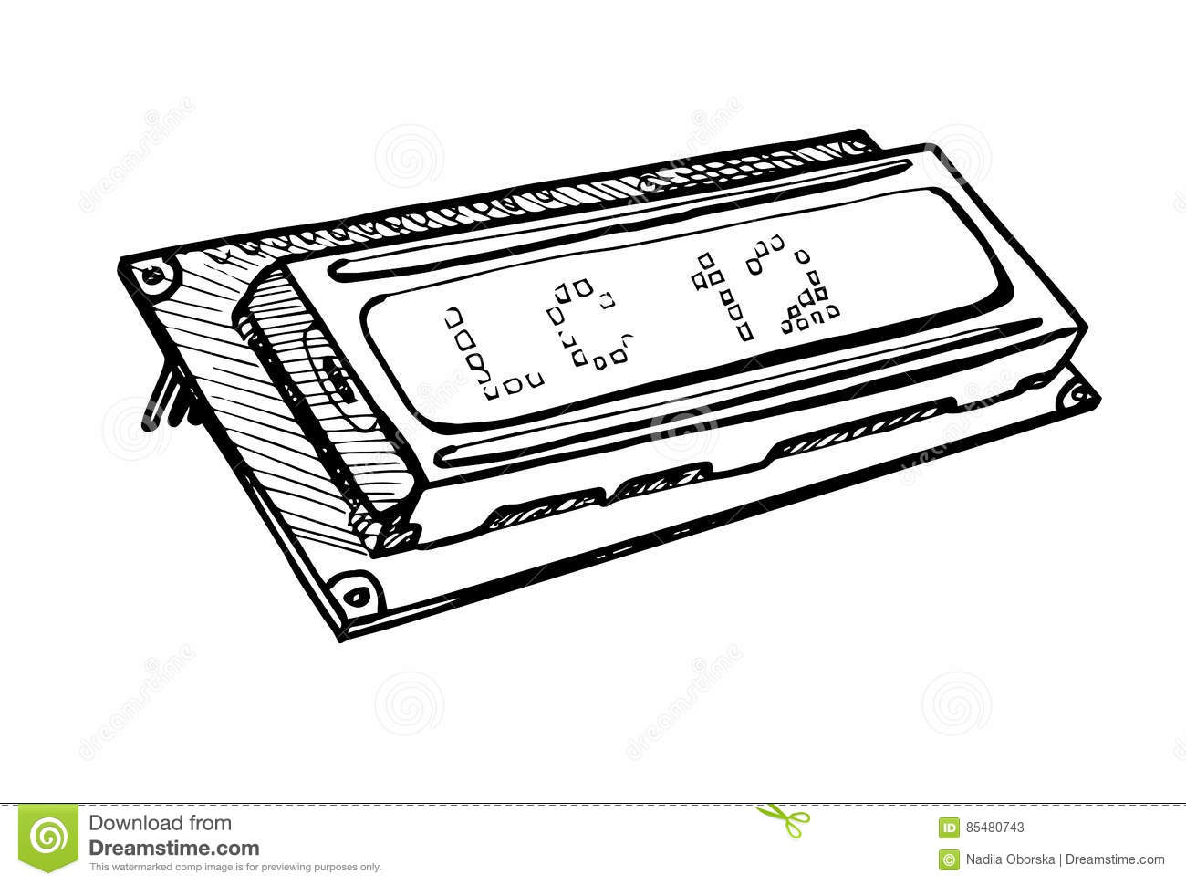 lcd display module isolated on white background  vector illustration in a sketch style  stock