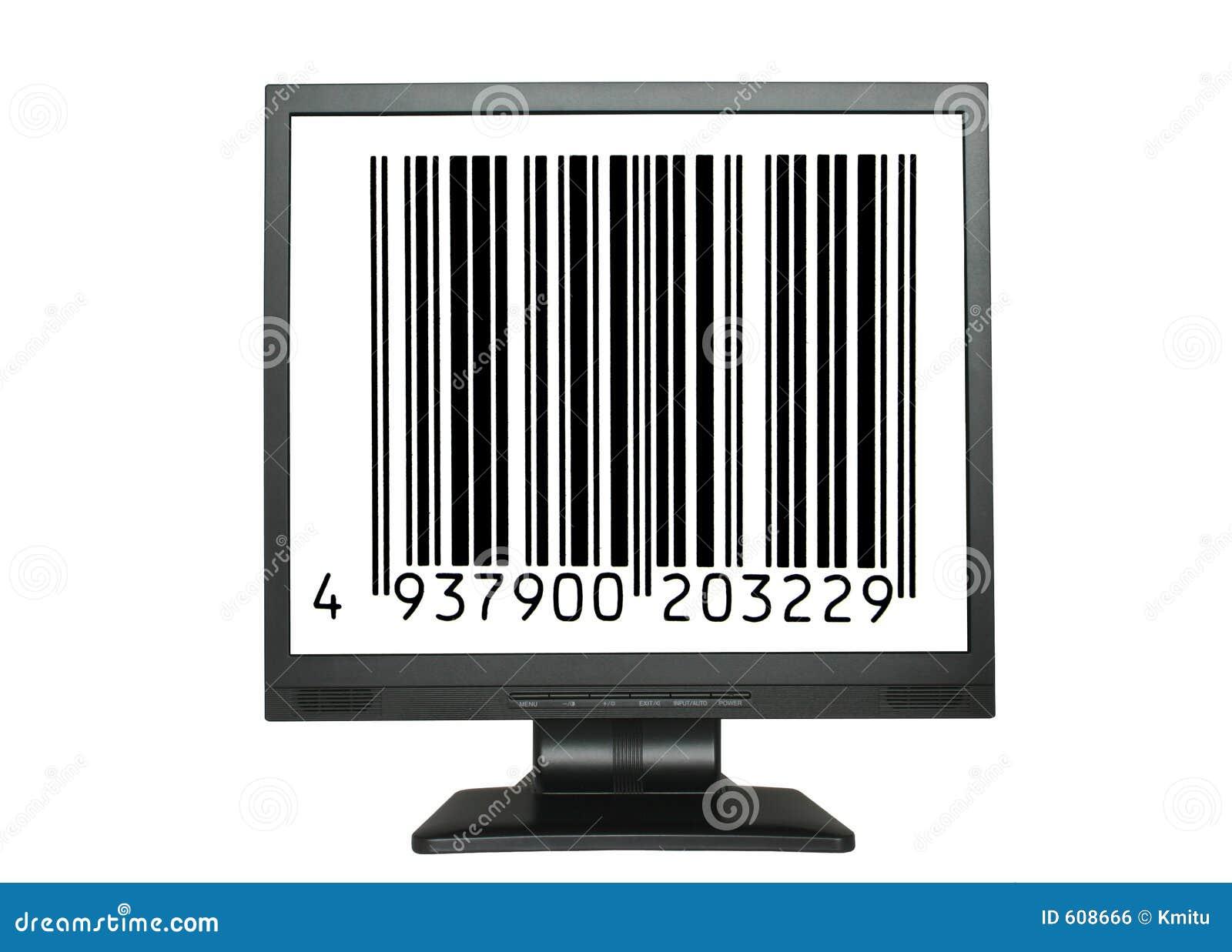 LCD het scherm met een streepjescode van een onbestaand product
