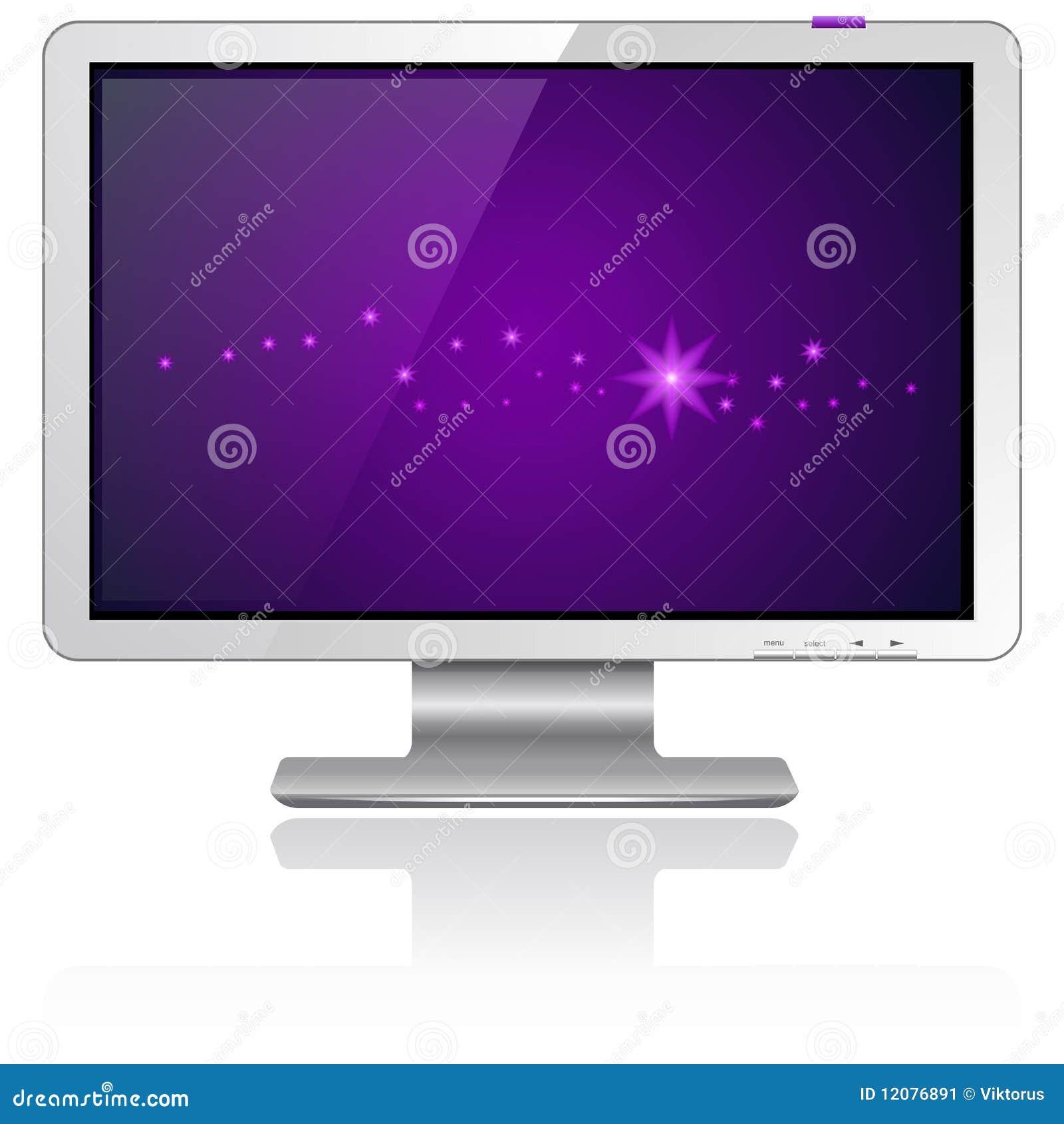 Purple Screen Monitor : Lcd monitor purple stock image