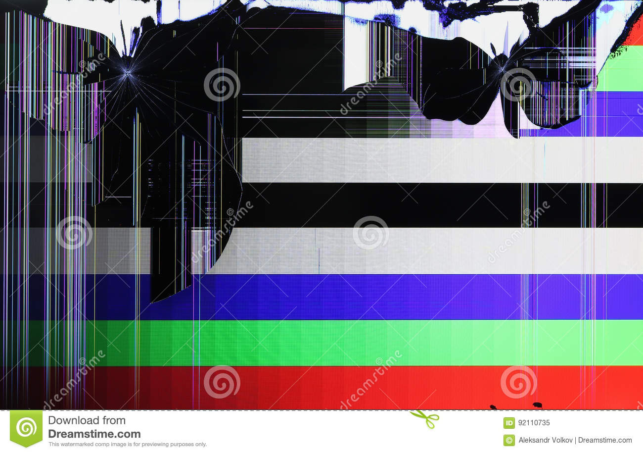 The LCD Screen Of The Tv Setis Broken By Shots From The
