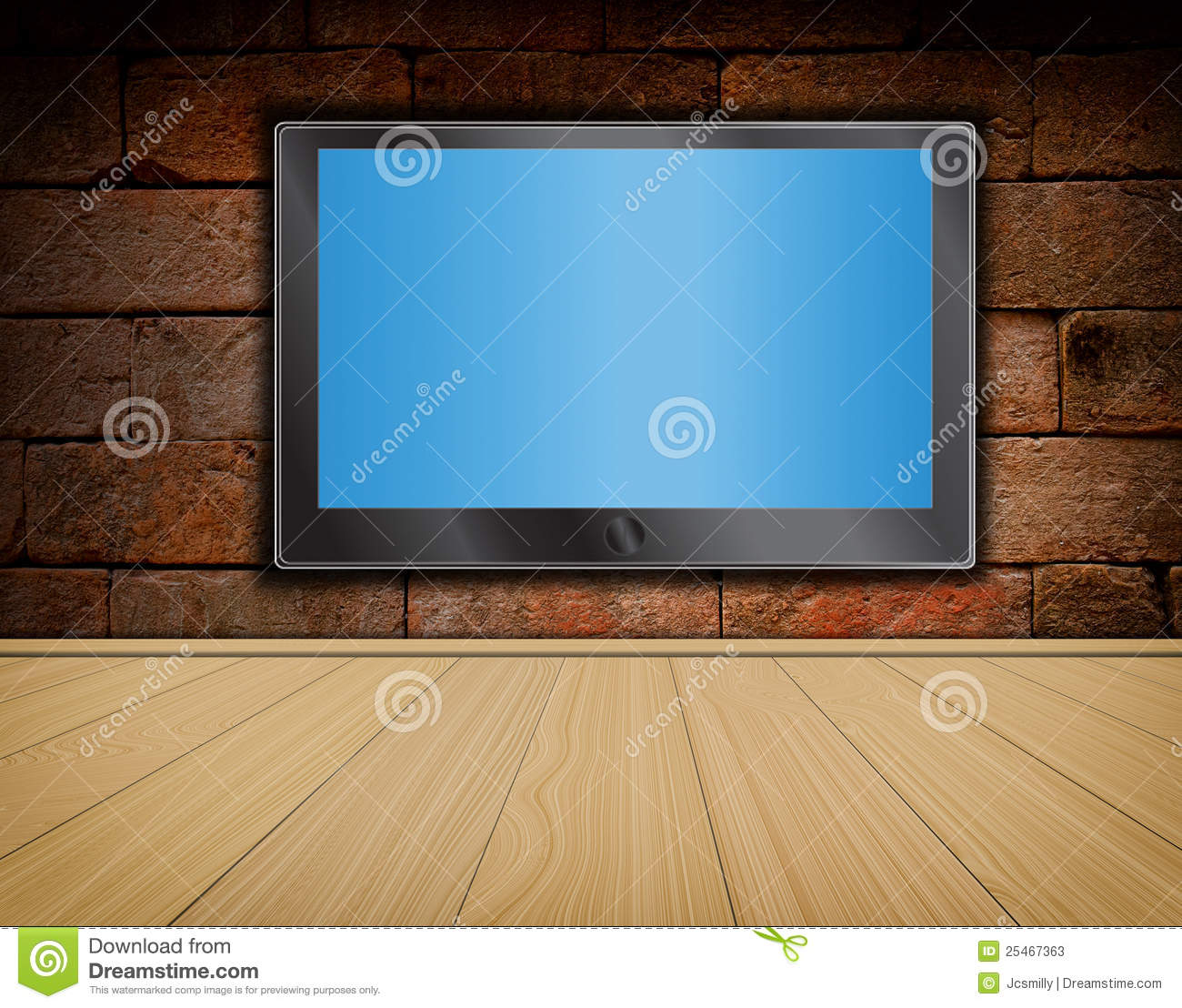 Lcd Tv Screen On Brick Wall And Wood Floor Stock
