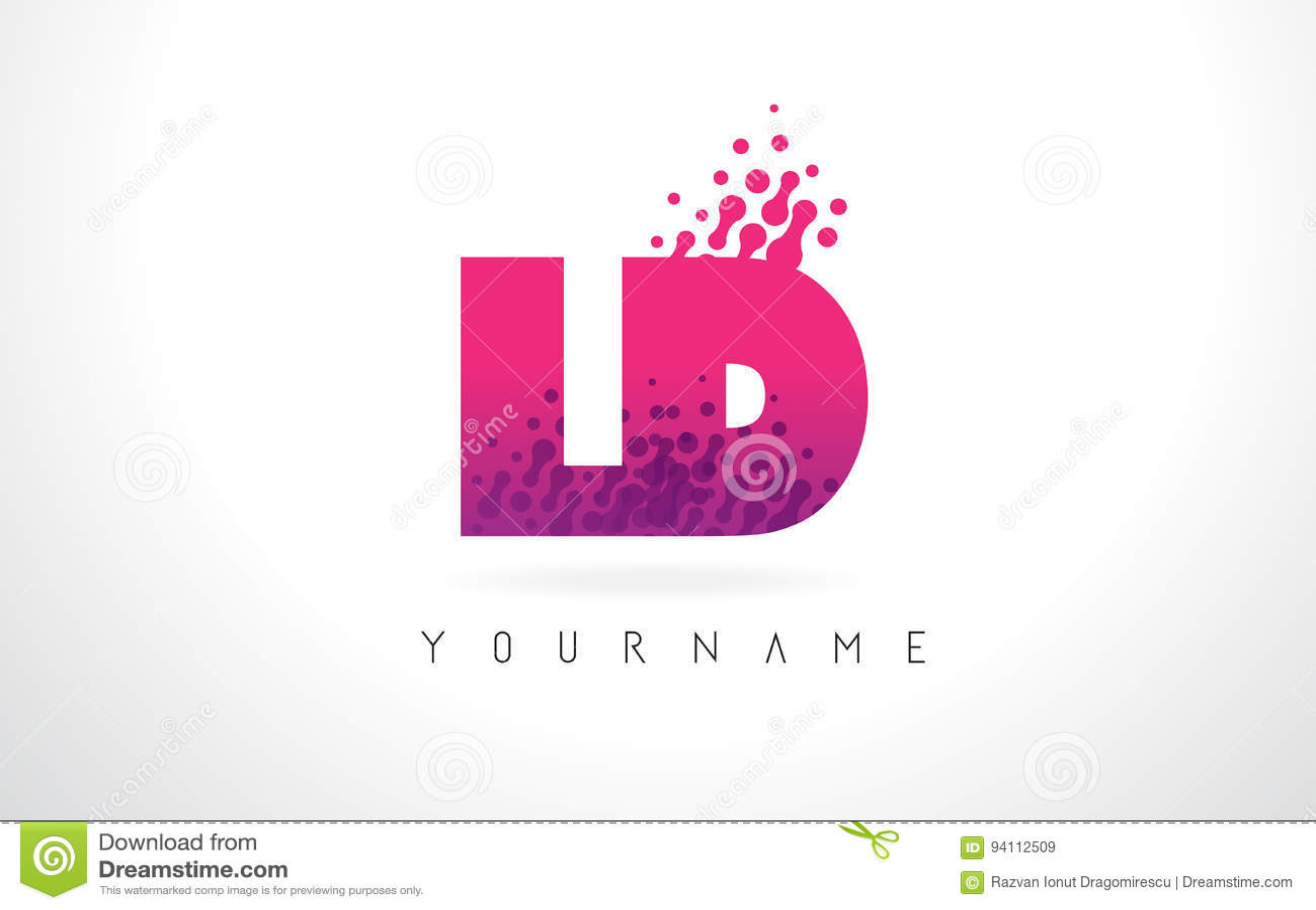 Ld L D Letter Logo With Pink Purple Color And Particles Dots Design