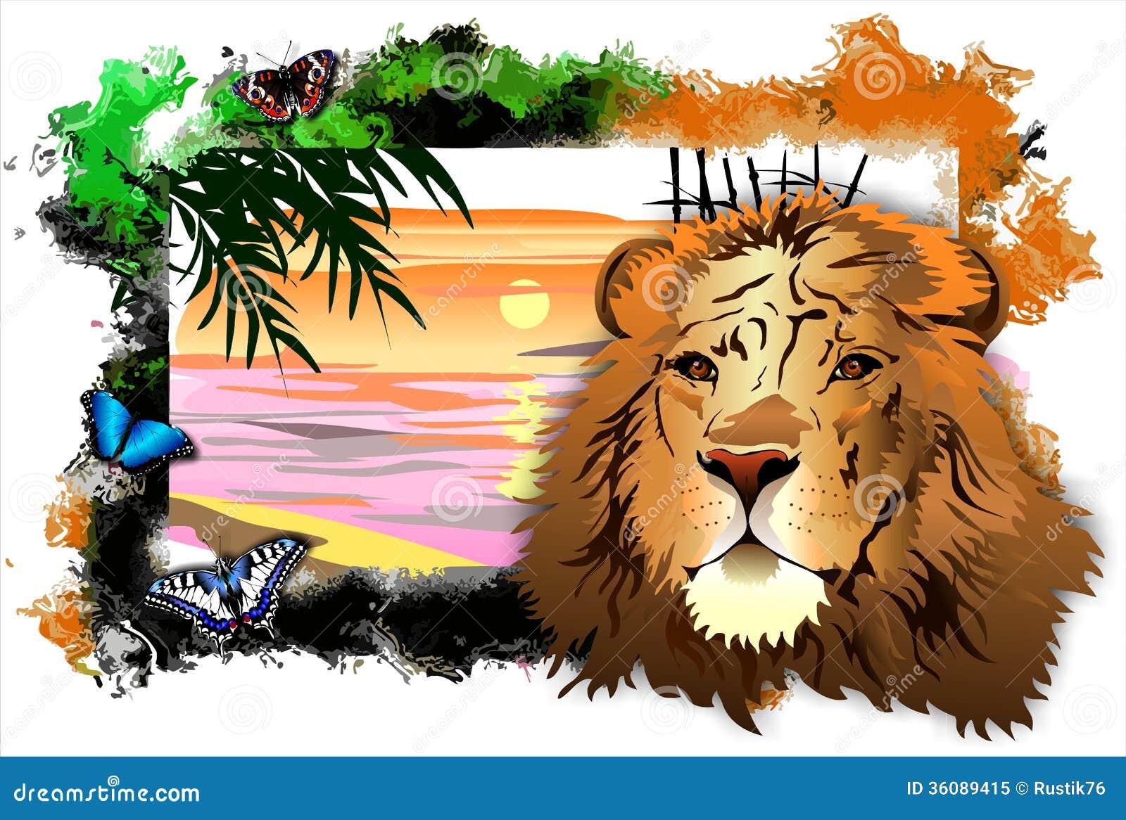 Leão com borboletas entre uma paisagem no quadro abstrato. vetor