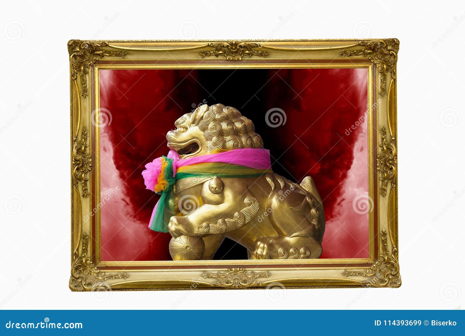 Leão dourado no quadro