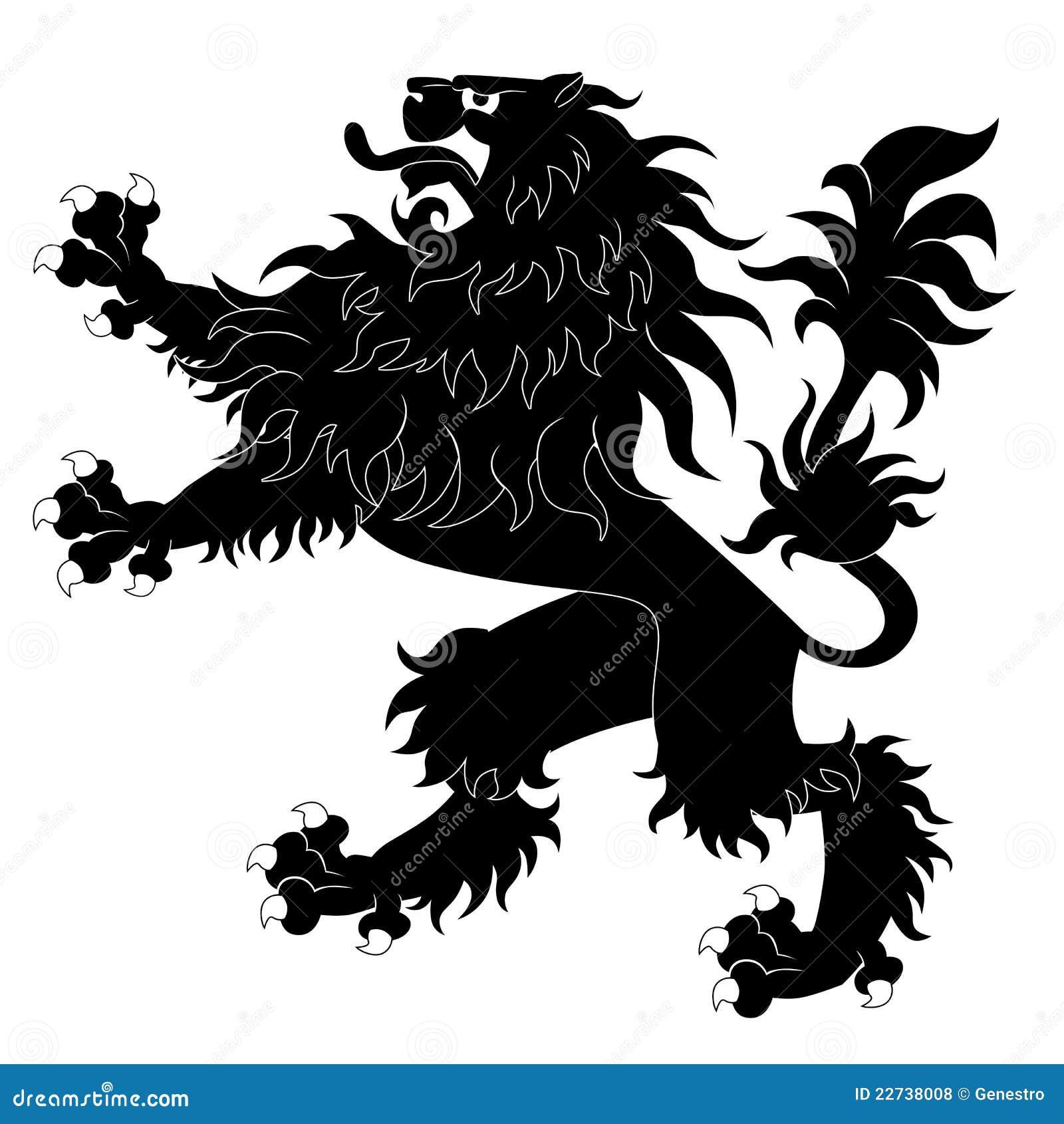 Leão heráldico preto