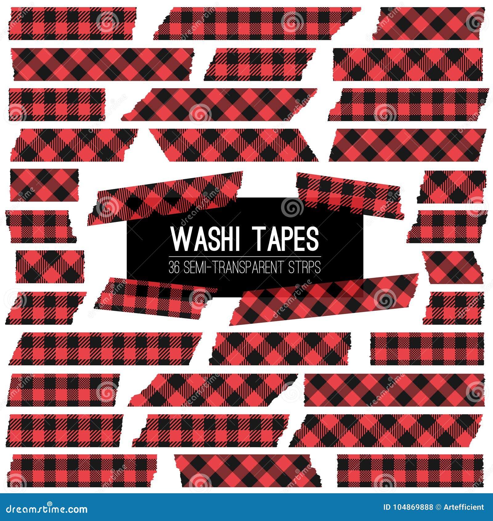 Leñador Buffalo Plaid Red y tiras negras del vector de la cinta de Washi
