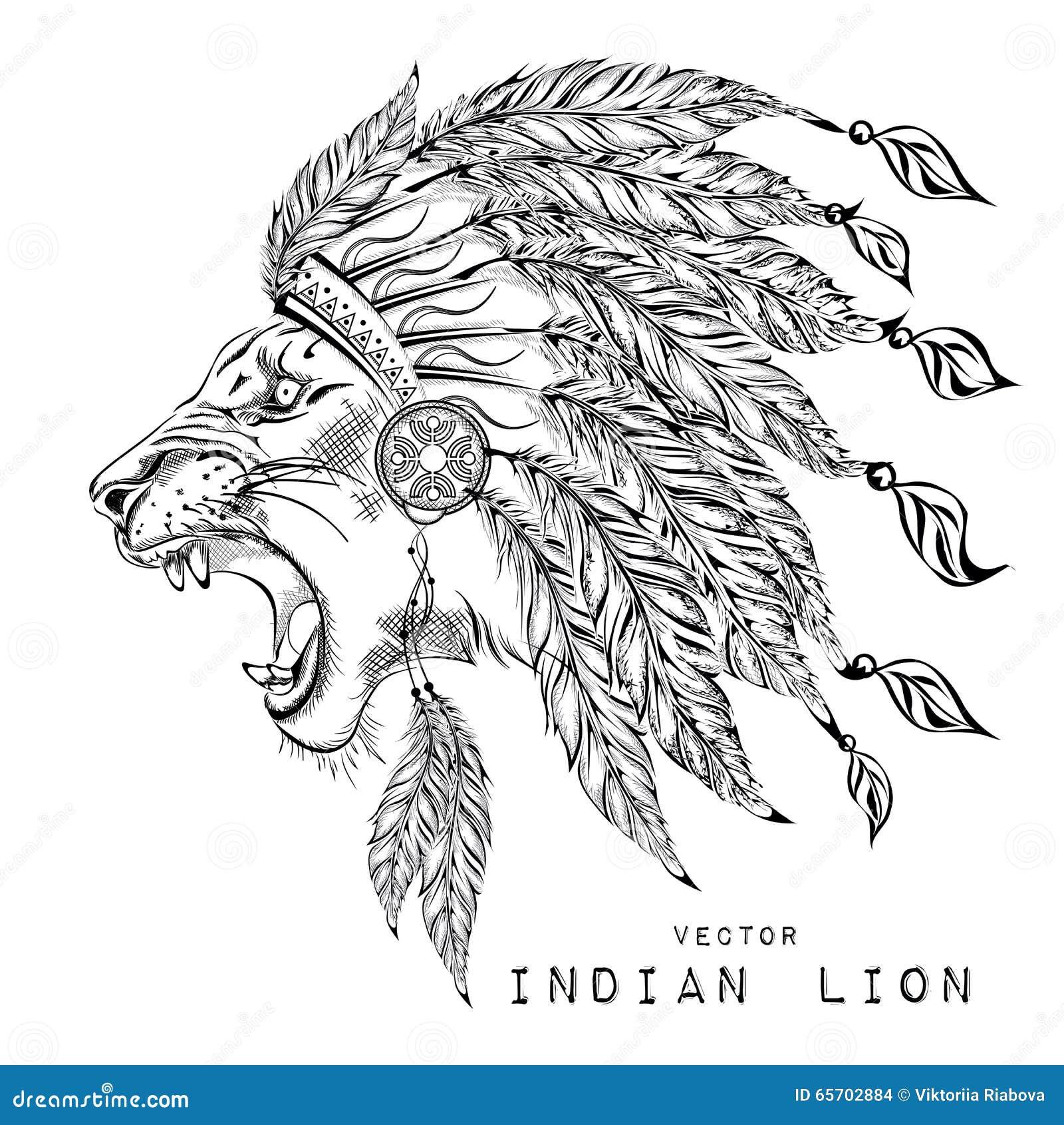 León En La Cucaracha India Coloreada Tocado Indio De La Pluma Del ...