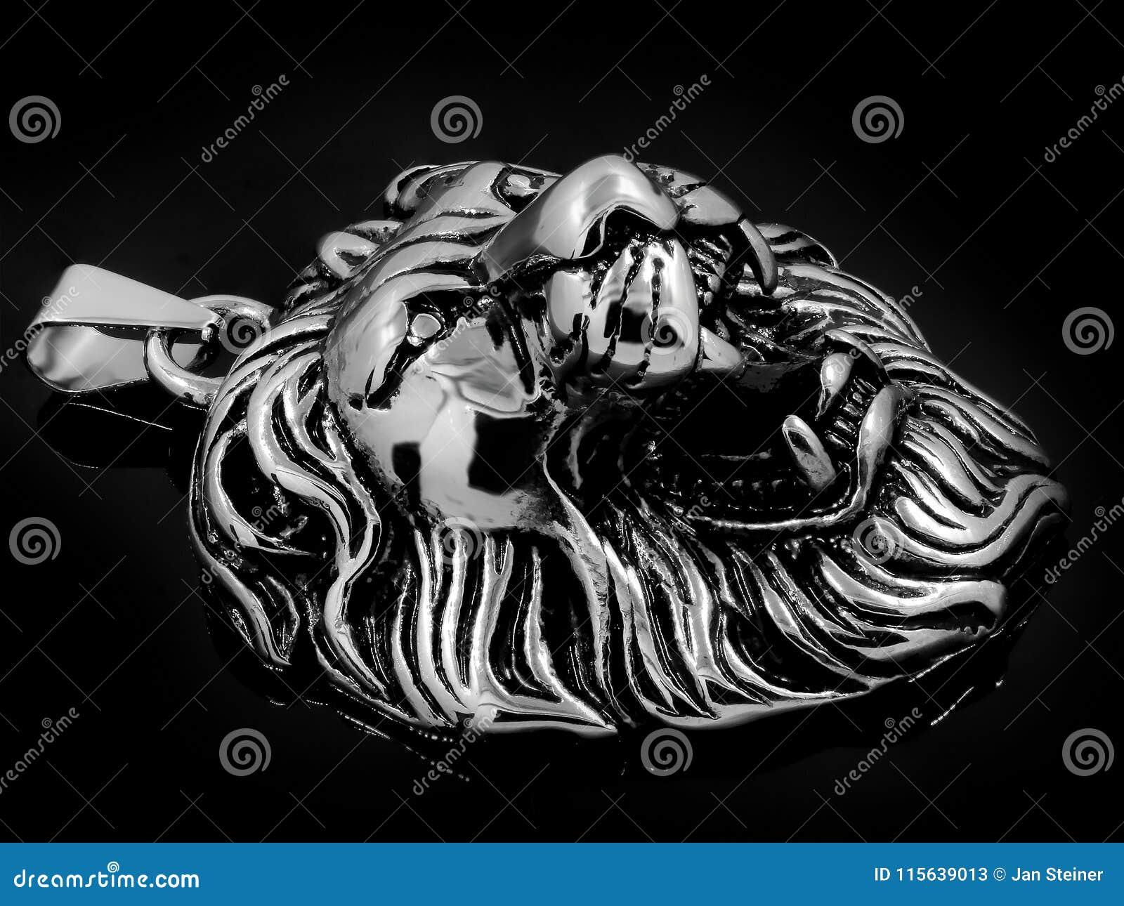 León rey de los animales aretes remolque pendiente metal plata