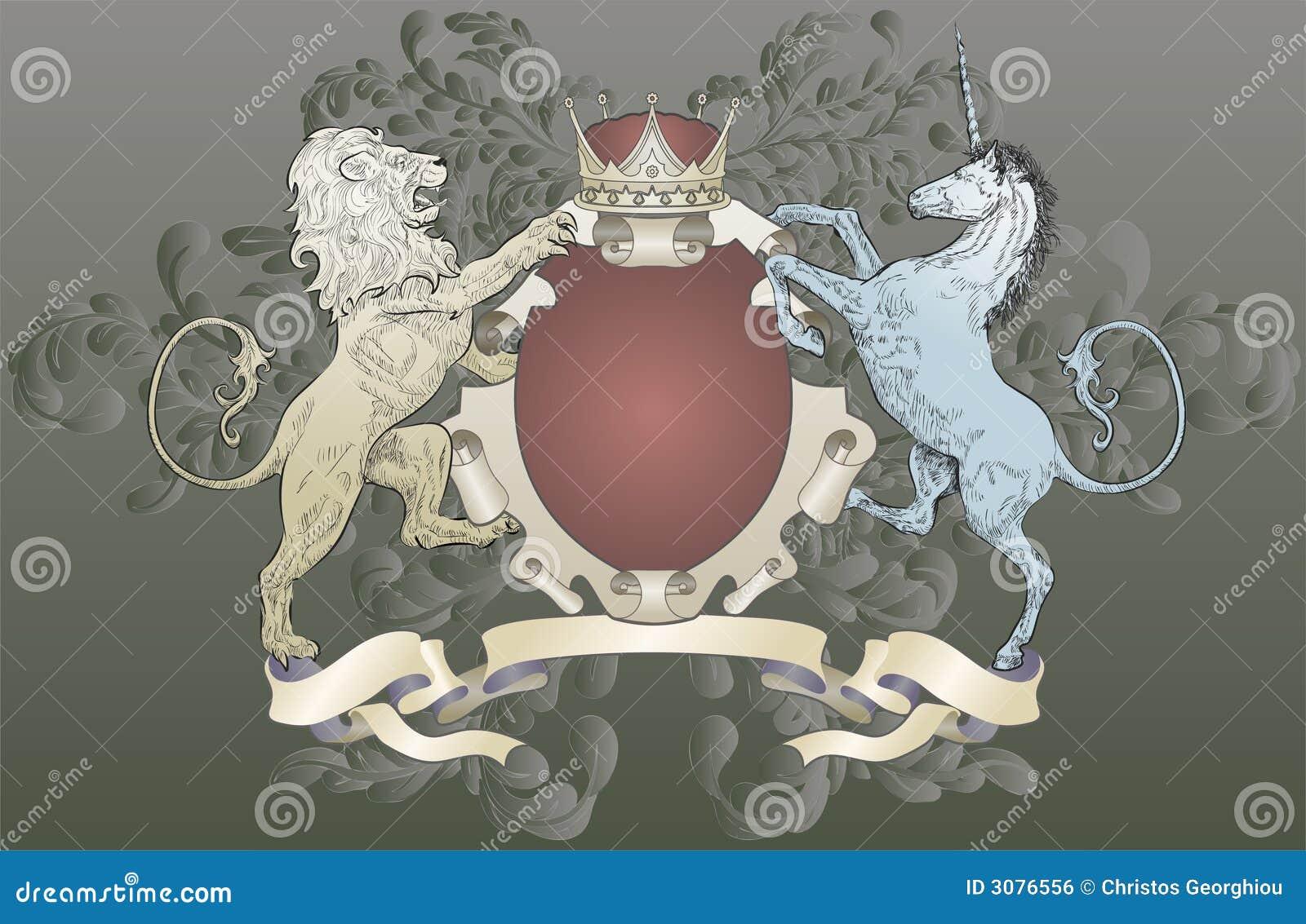 León y capa del unicornio de brazos