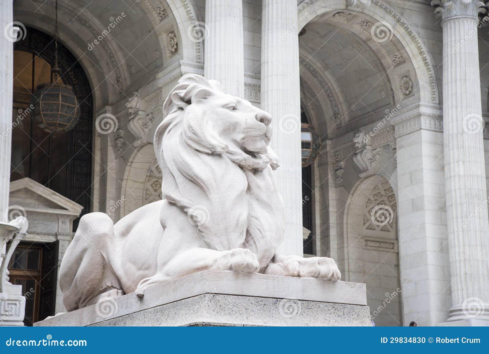 Leões de pedra, biblioteca de New York City