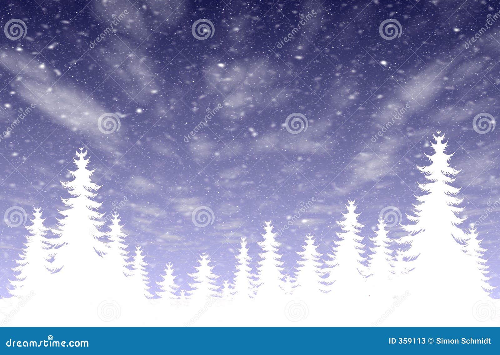 Leśny opad śniegu