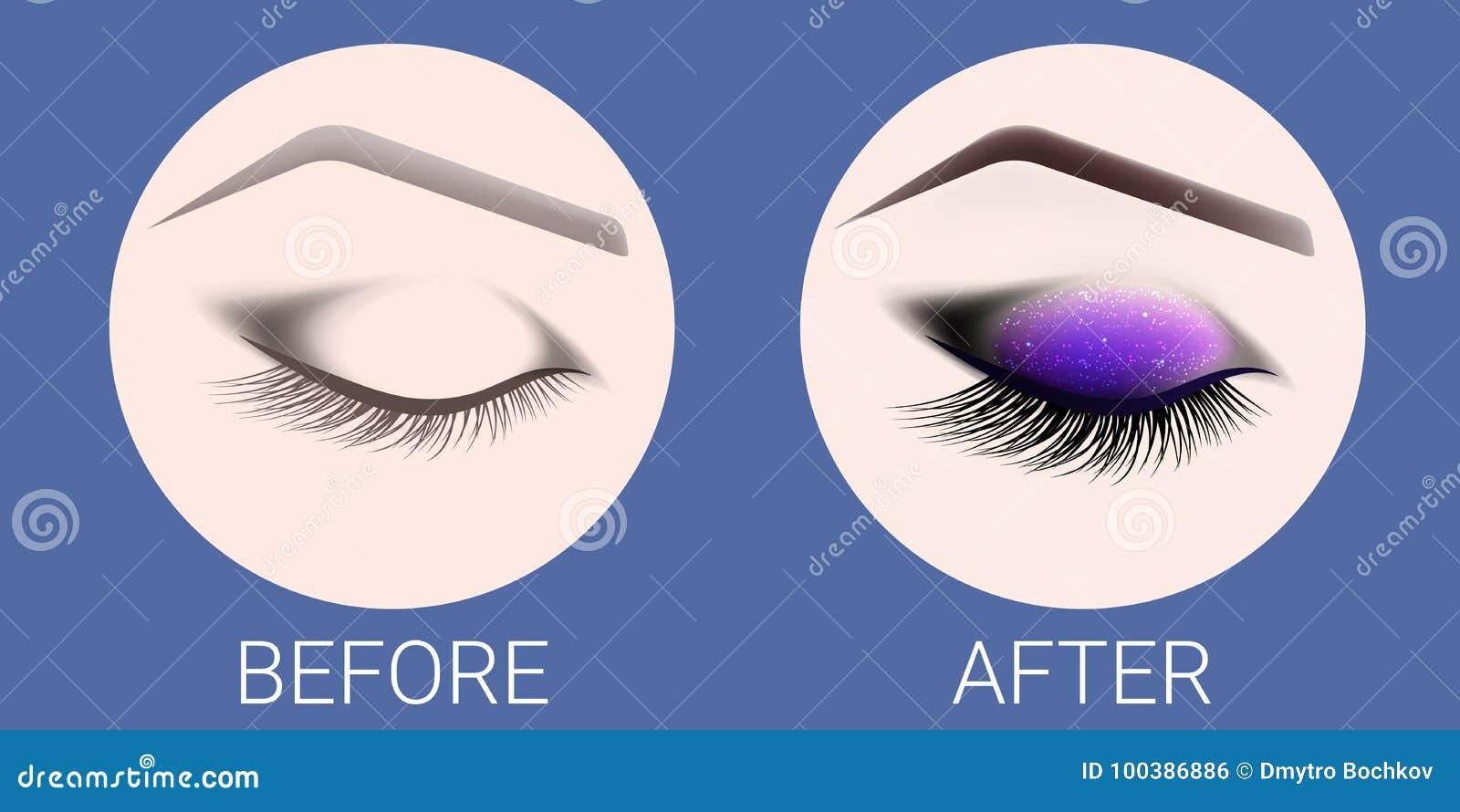 Le ¡ de Ð losed l oeil femelle avant et après un maquillage et une conception des sourcils Oeil avec de longs cils Extension de c
