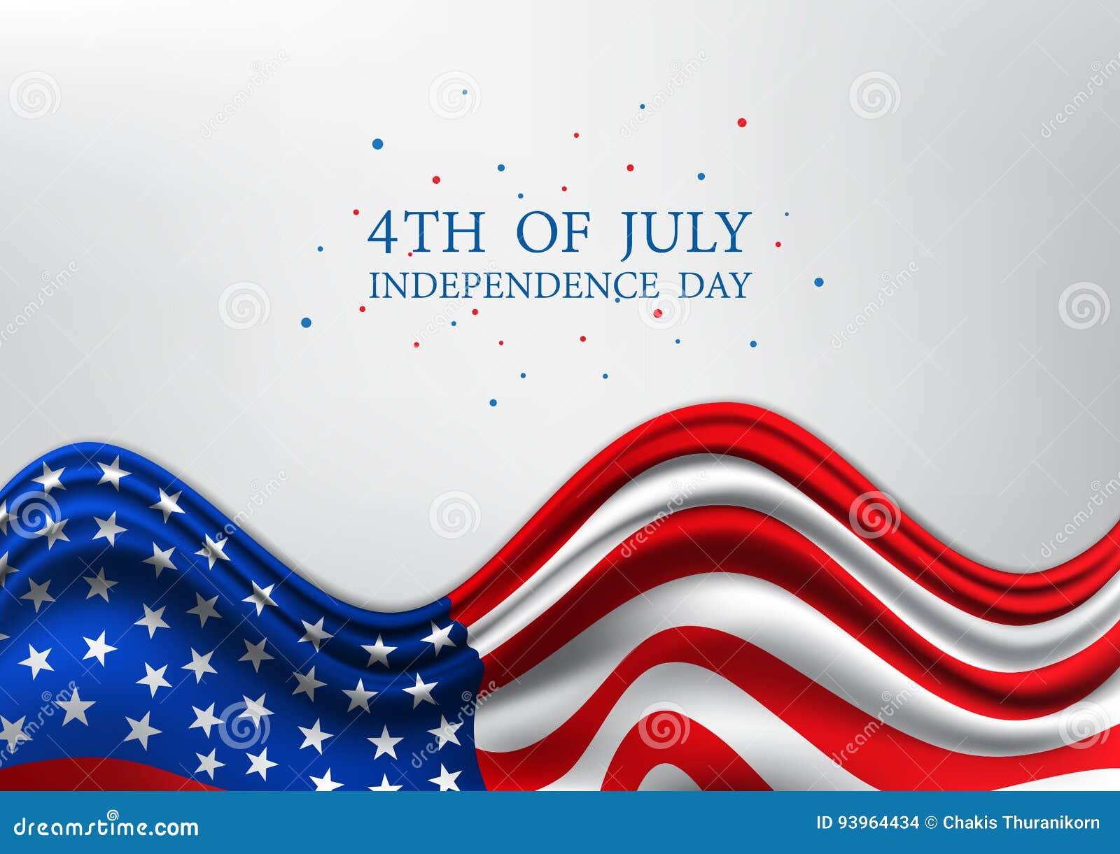 Le 4ème juillet, uni Jour de la Déclaration d Indépendance indiqué, jour national américain sur le drapeau des Etats-Unis, illust