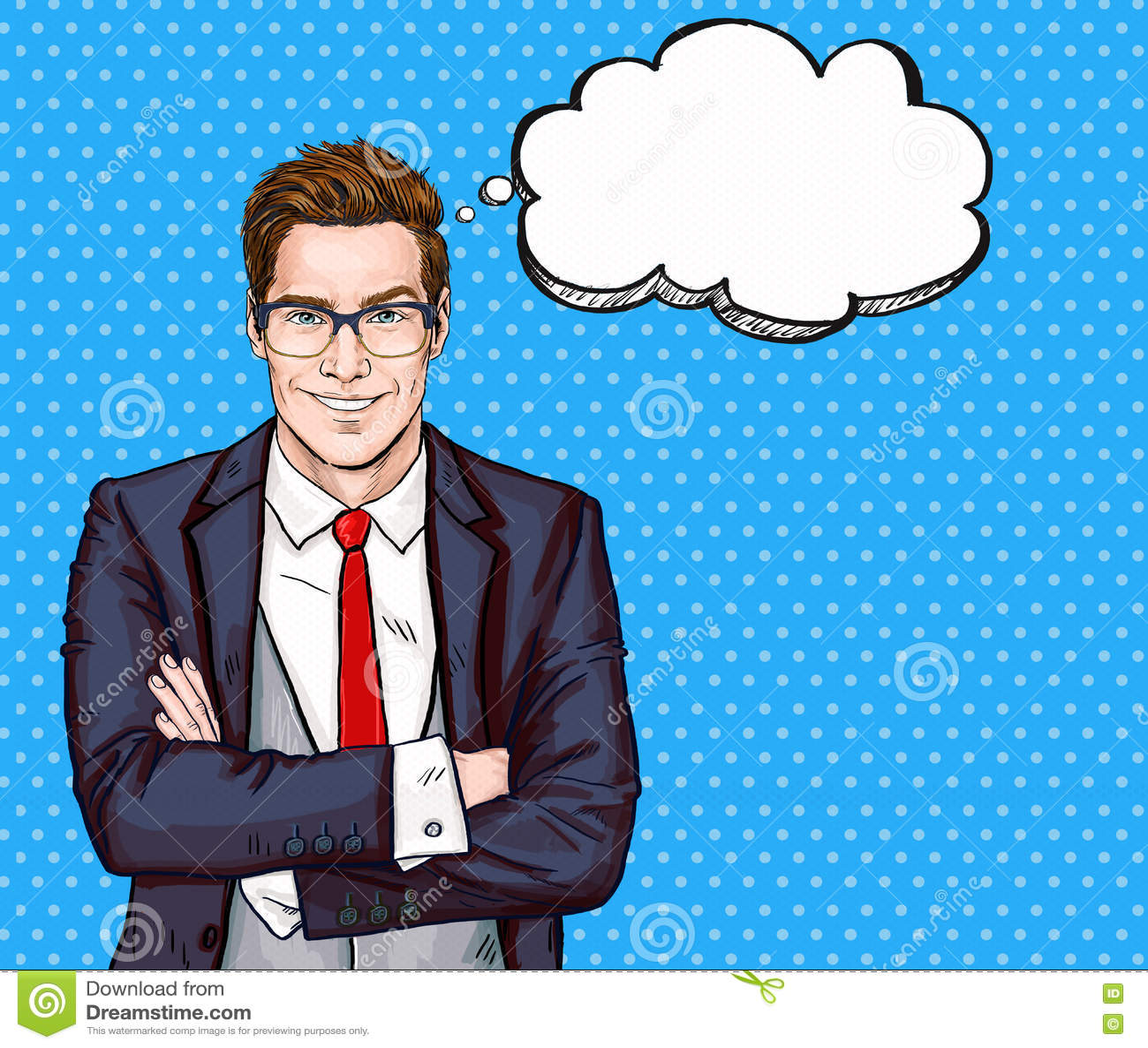 Le affärsmannen i exponeringsglas i komisk stil med anförande bubbla framgång